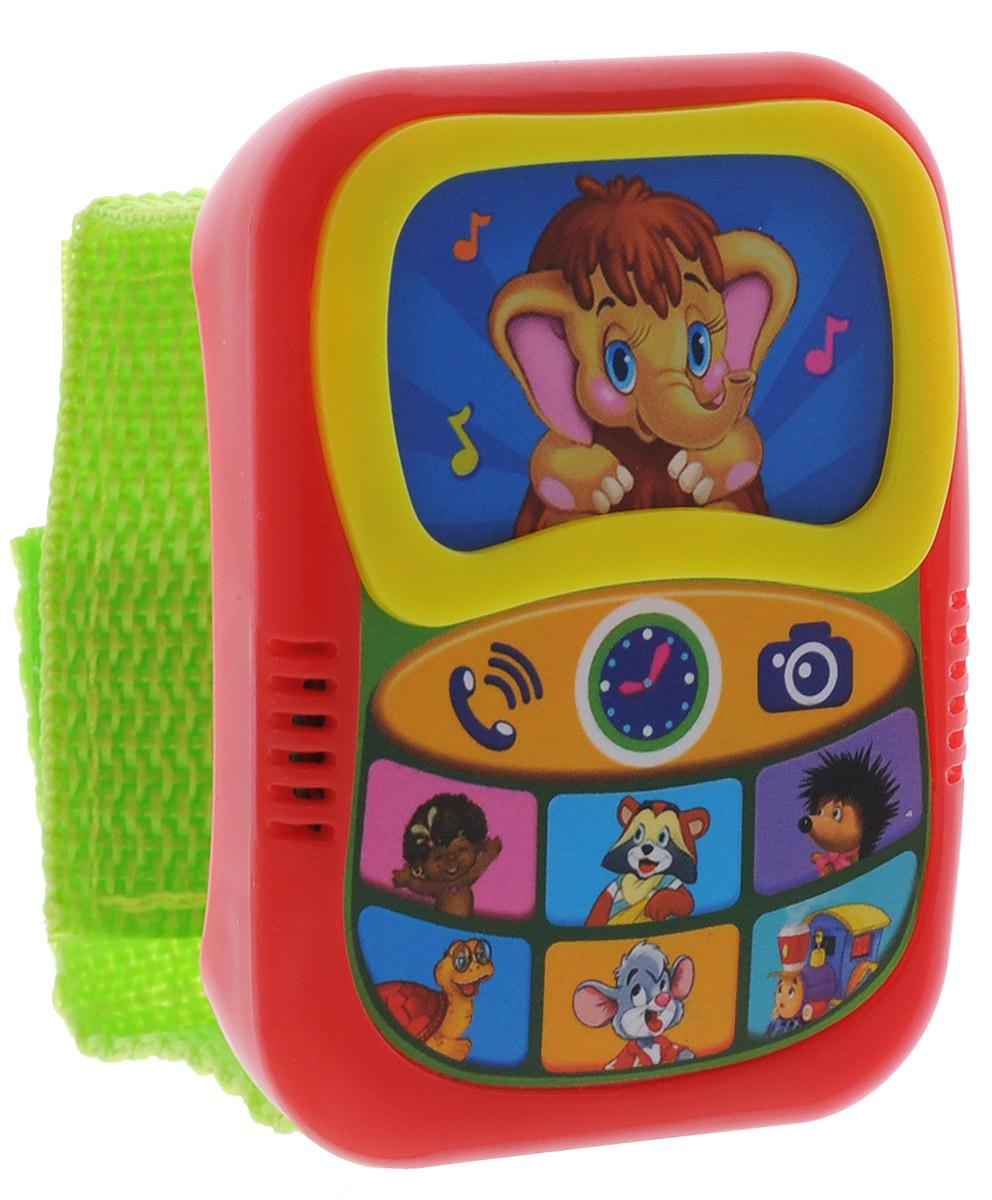 Азбукварик Музыкальная игрушка Говорящий плеер-часики цвет красный салатовый3576017_черный, красныйМузыкальная игрушка Азбукварик Говорящий плеер-часики выполнена из яркого пластика и дополнена текстильным ремешком с липучкой для крепления на руку ребенка. На корпусе плеера расположены сенсорные музыкальные кнопки, оформленные рисунками в виде героев советских мультфильмов и воспроизводящих веселые песенки. При повторном нажатии песенка перестает звучать. В центре игрушки находятся сенсорные кнопки с изображениями телефонной трубки, циферблата часов и фотоаппарата, при нажатии на которые малыш услышит характерные для этих предметов звуки. Песенки мультяшек: 1. Песенка Мамонтенка; 2. Чунга-чанга; 3. Улыбка; 4. Облака; 5. Песня Львенка и Черепахи; 6. Какой чудесный день! 7. Песенка паровозика. Музыкальная игрушка Азбукварик Говорящий плеер-часики поможет вашему малышу развить слух, музыкальное восприятие, а также поднимет ребенку настроение и пополнит словарный запас. Для работы игрушки необходимы 3 батарейки...
