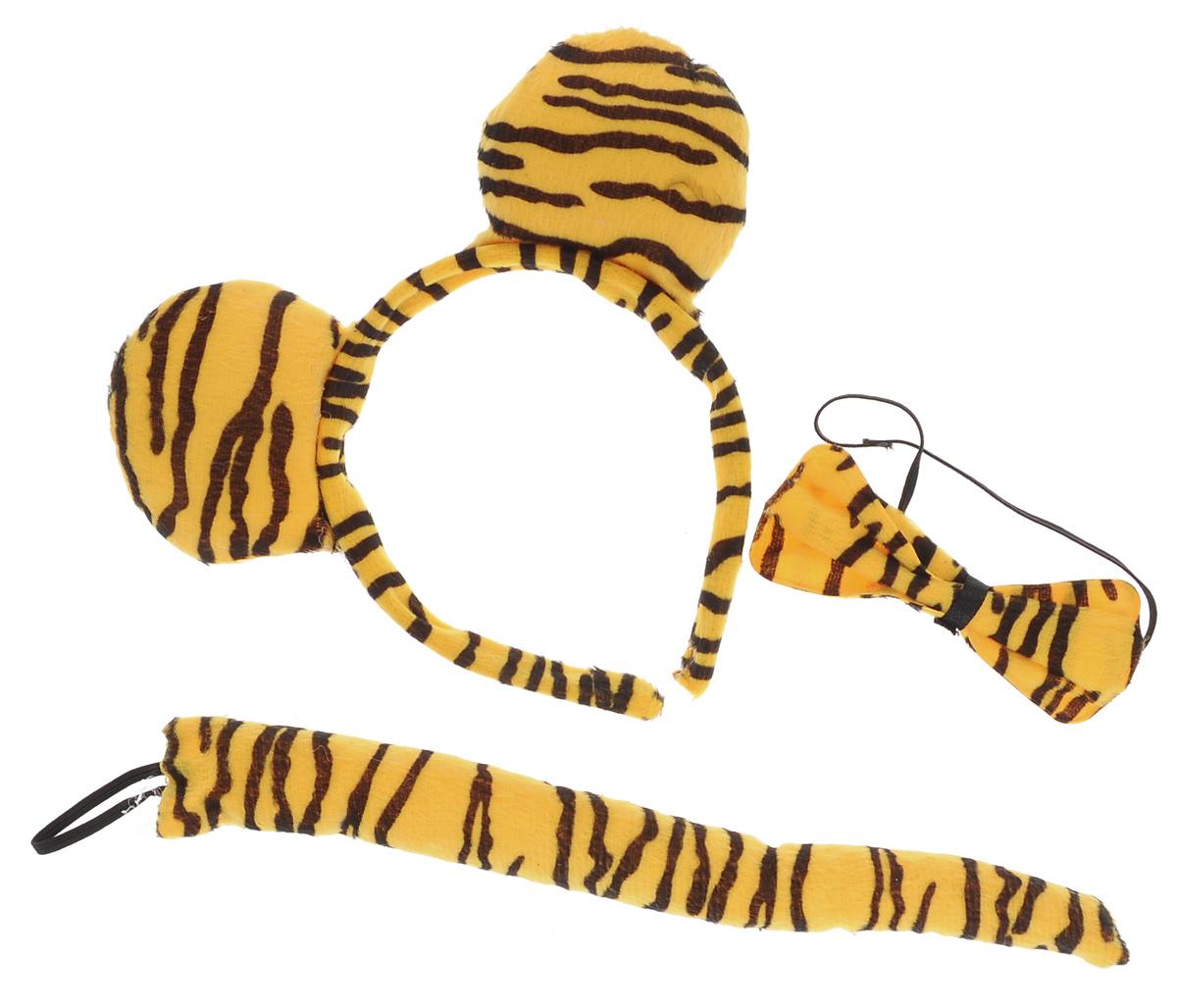 Набор маскарадный Феникс-Презент Тигр, 3 предмета34604Маскарадный набор Феникс-Презент Тигр состоит из бабочки на резинке, ободка с ушками и хвостика. Набор выполнен из полиэстера с расцветкой под тигра. Ободок имеет универсальный размер. Хвостик легко принимает любую форму, благодаря гибкой проволоке. Такой набор великолепно дополнит образ вашего персонажа, подчеркнет его характер и сформирует облик в целом. Если у вас намечается веселая вечеринка или маскарад, то такой аксессуар легко поможет создать праздничный наряд. Внесите нотку задора и веселья в ваш праздник. Веселое настроение и масса положительных эмоций вам будут обеспечены! Длина хвостика: 26 см. Размер ободка: 18 см х 18 см. Размер бабочки: 11 см х 5,5 см.