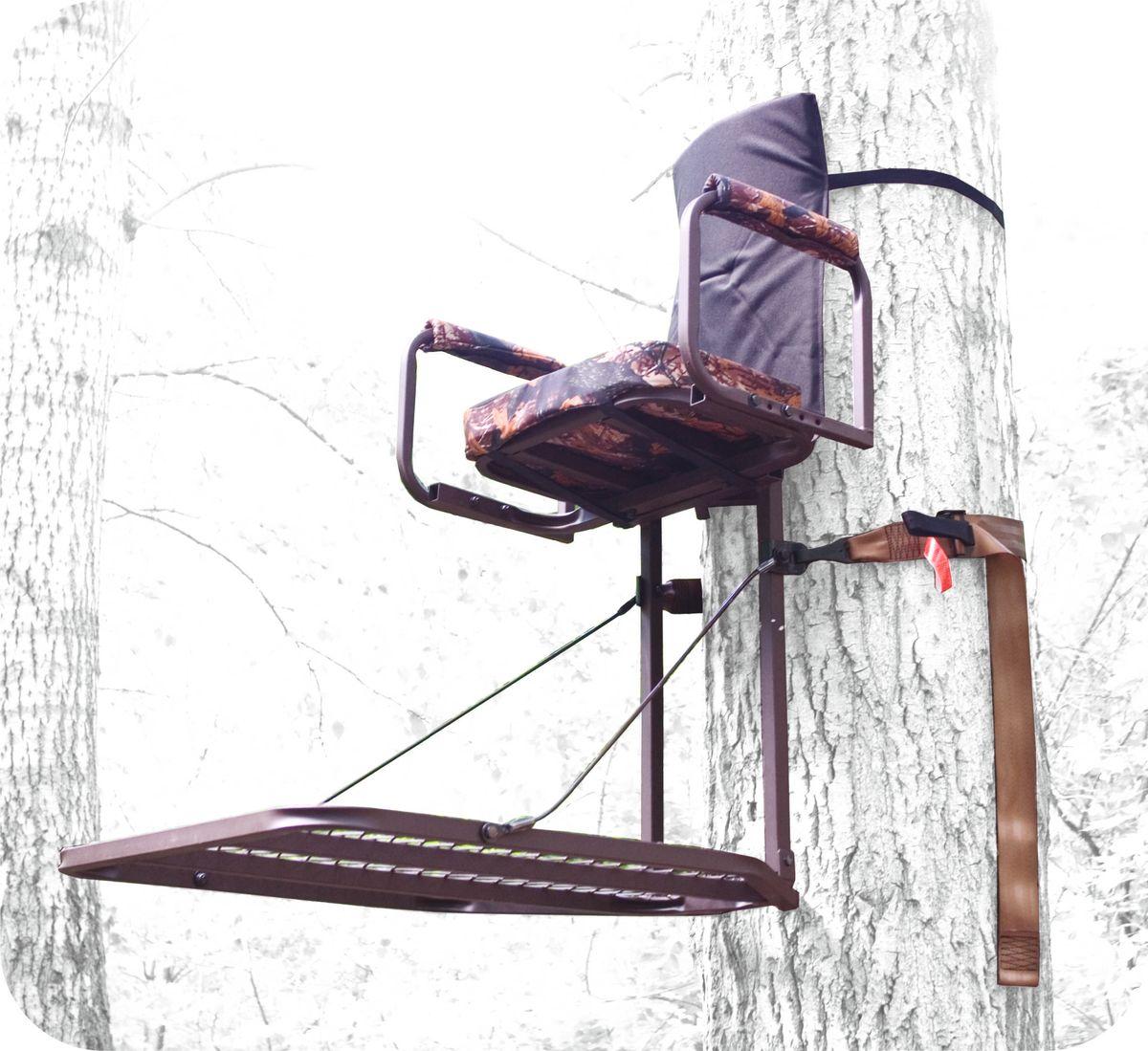 Засидка складная на дерево Canadian Camper CC-TS50130220101Засидка на дерево. Быстрое и надежное крепление к стволу дерева. Складывается для переноски за спиной как рюкзак (необходимые лямки в комплекте). Удобное съемное сиденье. Большая, решетчатая платформа для ног. Страховочная обвязка в комплекте. Размер платформы - 76,2 Х 61 см, высота сиденья - 56 см, размеры сиденья - 20,3 X 40,6 Х 5 см, цвет - небликующий коричневый, материал - сталь, нагрузка - 136 кг, собственный вес - 8,6 кг.