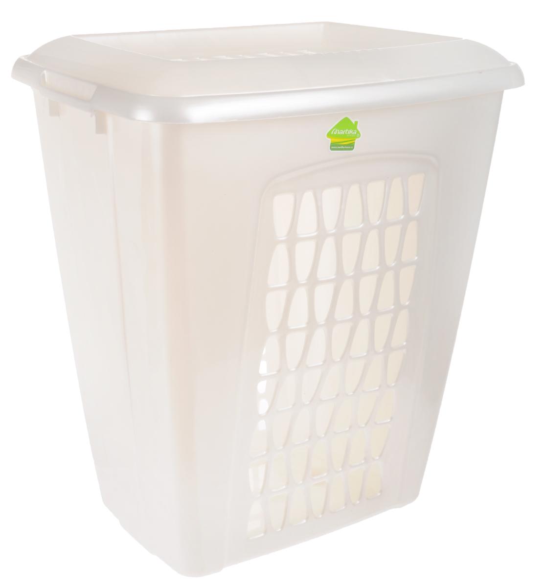 Корзина для белья Martika Моллета, цвет: перламутрово-белый, 45 лС701_перламутрово-белыйКорзина для белья Martika Моллета, изготовленная из прочного полипропилена, пропускает воздух, устойчива к перепадам температур и влажности, поэтому идеально подходит для ванной комнаты. Изделие оснащено боковыми ручками и крышкой. Можно использовать для хранения белья, детских игрушек, домашней обуви и прочих бытовых вещей. Элегантный дизайн подойдет к интерьеру любой ванной.