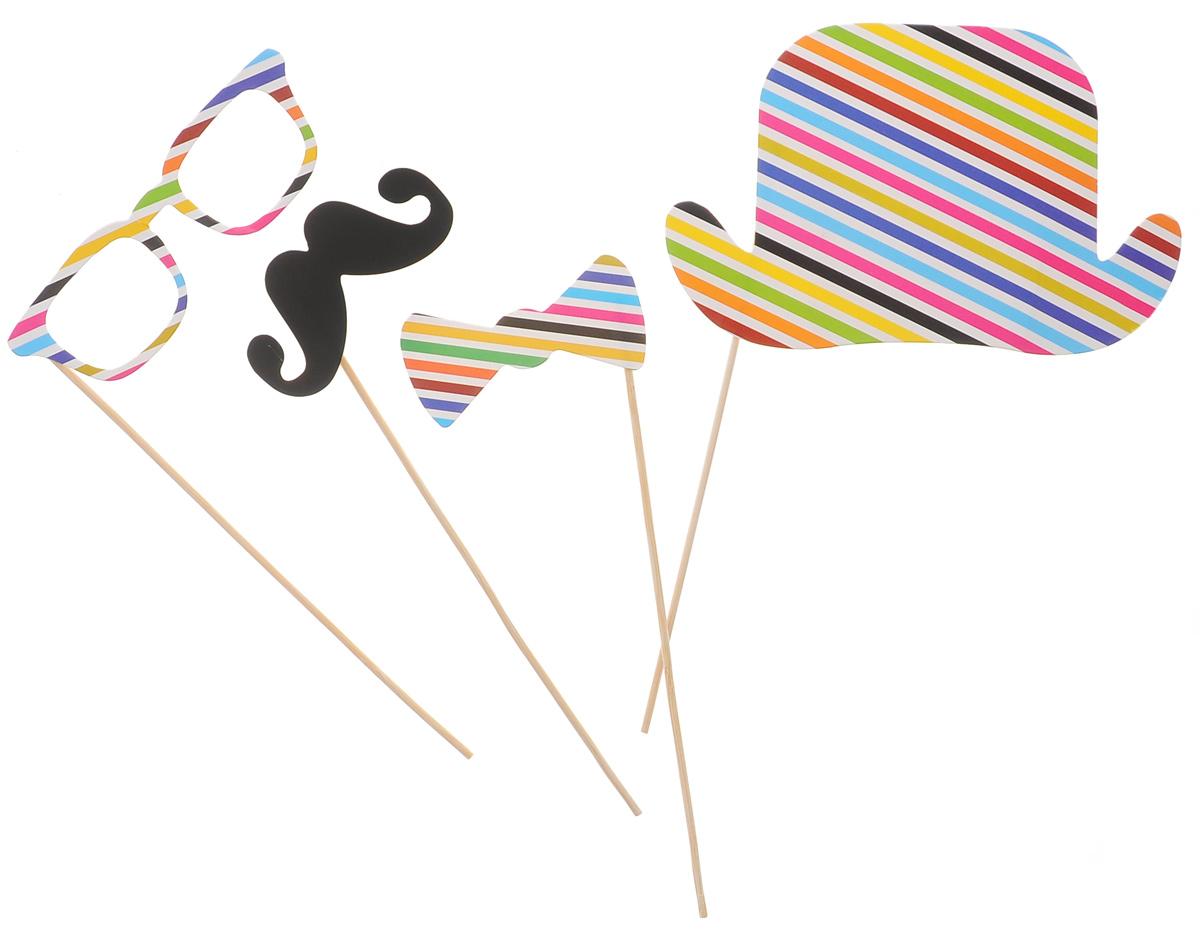 Набор для вечеринок Феникс-Презент Полосатый, цвет: белый, черный, желтый, 4 предмета39212Набор для вечеринок Феникс-Презент Полосатый внесет нотку задора и веселья в ваш праздник. В набор входит шляпа, очки, усы и галстук-бабочка. Изделия выполнены из плотной бумаги, имеют крепление на бамбуковой палочке. Такой набор позволит причудливо изменить внешний вид человека. Идеальный вариант для игр и театрализованных сценок. Длина палочек: 20 см.