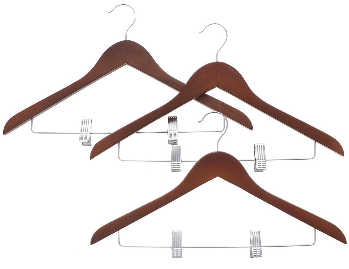 Набор вешалок El Casa Орех, с зажимами, 3 шт150066Набор El Casa Орех, состоящий из трех вешалок, изготовленных из прочной натуральной древесины и металла, выдерживает нагрузку до 7 кг и имеет вращающийся крючок. Благодаря перекладине с зажимами изделия идеально подходят для хранения юбок, брюк и прочих вещей. Вешалка - это незаменимая вещь для того, чтобы ваша одежда всегда оставалась в хорошем состоянии. Комплектация: 3 шт. Размер вешалки: 45 см х 26 см х 1,3 см.