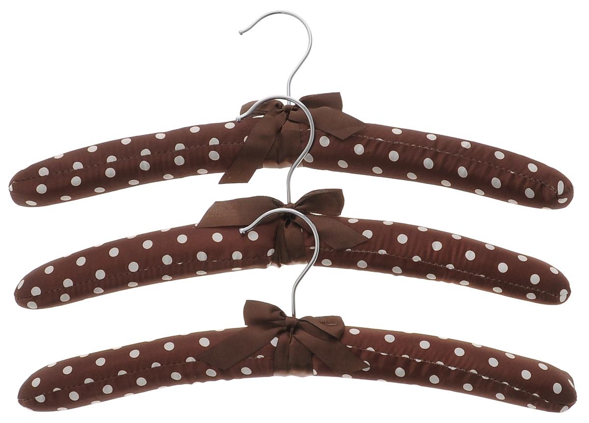 Набор вешалок для одежды El Casa, цвет: коричневый, молочный, 3 шт. 150056150056Набор вешалок El Casa, изготовленный из дерева и сатина, идеально подойдет для деликатной одежды из шерсти и нежных тканей. С ним ваша одежда избежит ненужных растяжек и провисаний. Набор El Casa станет практичным и полезным в вашем гардеробе. Комплектация: 3 шт. Размер вешалки: 11 см х 38 см х 3,5 см.