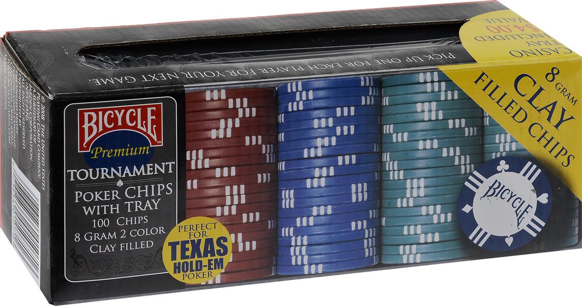 Фишки для покера Bicycle, 8 г, 100 шт1006305Фишки для покера Bicycle, весом 8 грамм, выполнены из пластика, не имеют номинала. В набор входят фишки 4 цветов и пластиковая подставка. Такие фишки прекрасно подойдут для игры в покер. Комплектность: фишки красного цвета: 20 шт. фишки зеленого цвета: 40 шт. фишки синего цвета: 30 шт. фишки черного цвета: 10 шт. Диаметр фишки: 4 см.