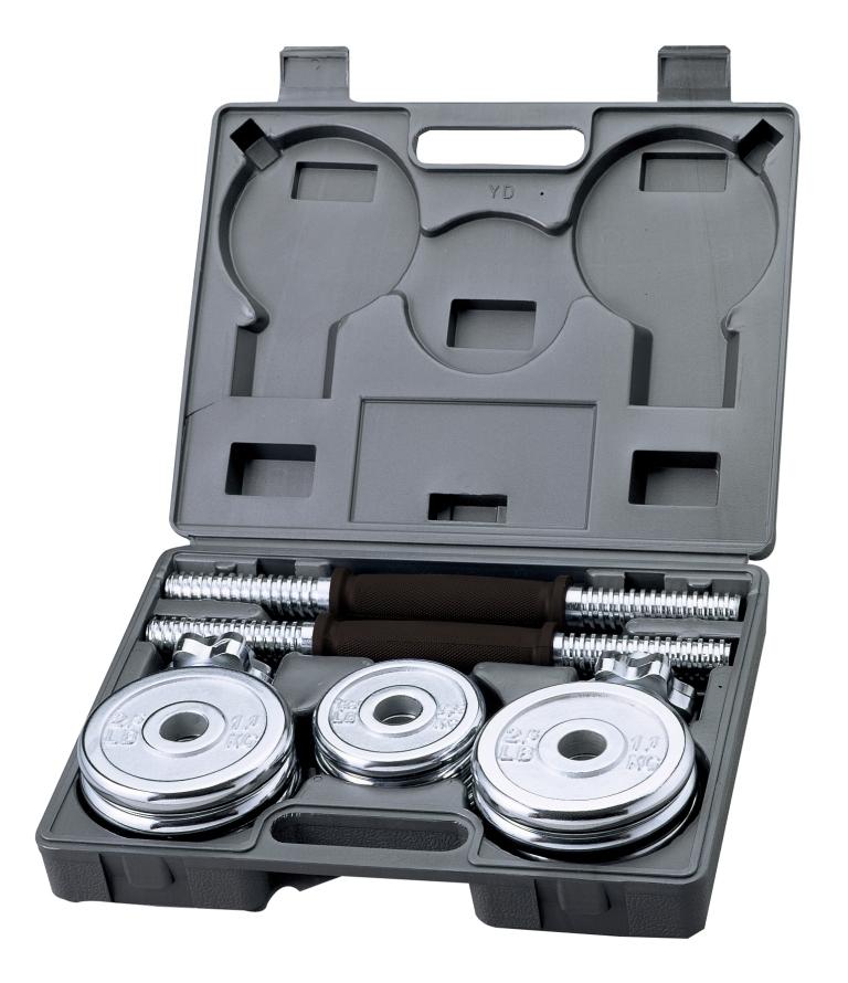 Гантели хромированные с регулируемым весом, 15кг, BW-7915BW-7915Основные характеристики Общий вес: 15кг Тип: сборно-разборная В комплекте: Гриф гантельный: 2шт Длина: 35,56см Диаметр: 25,4мм Замок: гайка Вейдера с резьбой (сталь) Материал: высокопрочная сталь, хромированный Материал рукояти: хром, покрытый высокопрочным пластиком с противоскользящей насечкой (не вращающаяся) Вес грифа: 1,8кг Диски: 1,14кг - 8шт; 0,57кг - 4шт Тип: хромированные Посадочный диаметр: 26мм Материал: хромированная сталь Вид применения: домашнее использование Страна-производитель: Китай Набор поставляется в комплекте с пластиковым кейсом для удобства хранения и переноски. Из данного набора можно собрать две гантели весом по 7.5кг каждая.