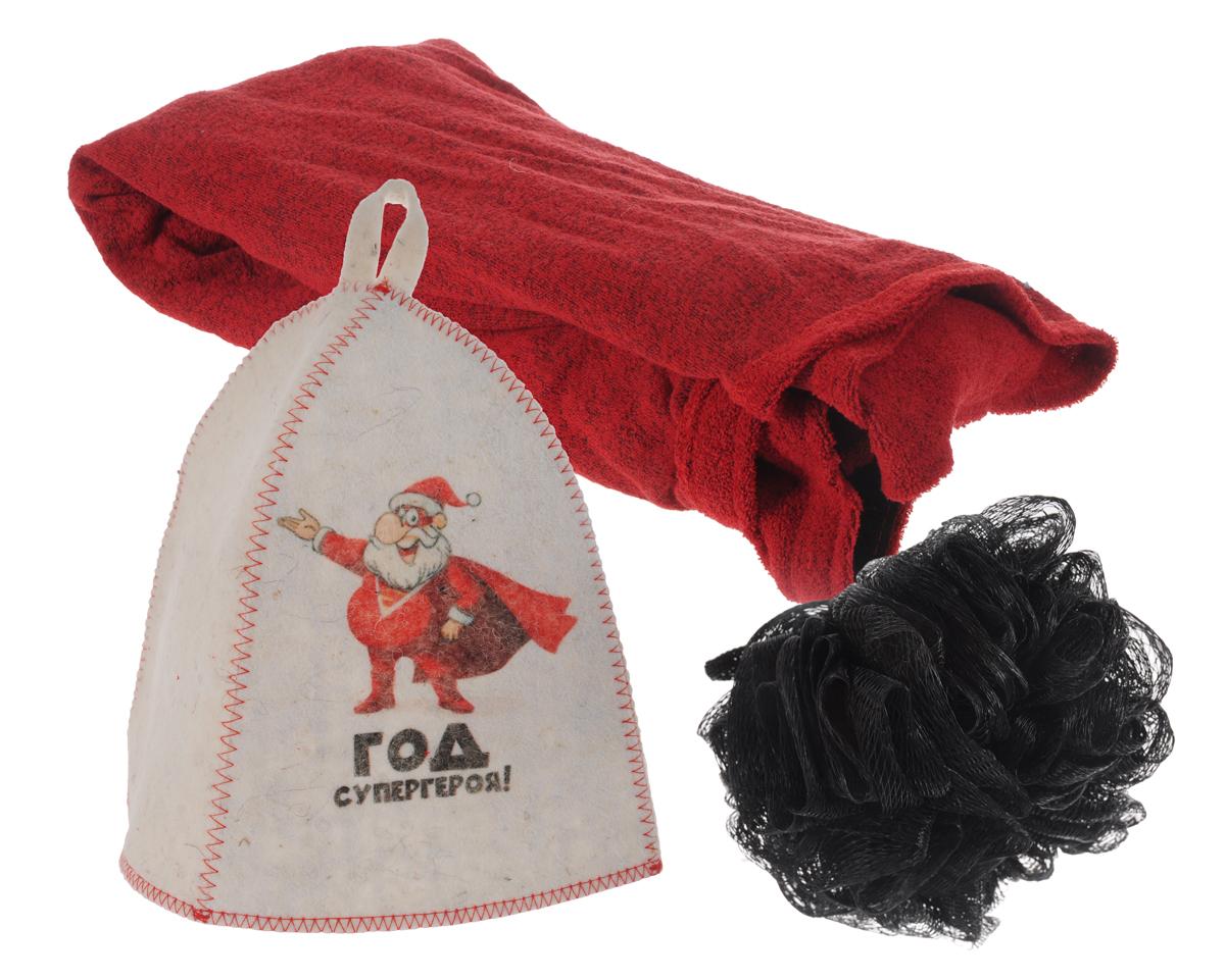 Набор подарочный для бани и сауны Год супергероя!, 3 предметаА347В подарочный набор для бани и сауны Год супергероя! входят шапка, мочалка и килт. Шапка, изготовленная из войлока, декорирована изображением забавного Деда Мороза и оснащена петелькой для подвешивания. Благодаря сетчатой мочалке из нейлона вам обеспечено много пены. Килт, выполненный из хлопка, посажен на резинку и застегивается с помощью липучки. Его можно использовать как коврик для бани или полотенце. Такой набор поможет с удовольствием и пользой провести время в бане, а также станет чудесным подарком друзьям и знакомым, которые по достоинству его оценят при первом же использовании. Размер килта: 65 см х 63 см. Обхват головы шапки: 66 см. Высота шапки: 23 см. Диаметр мочалки: 13 см.