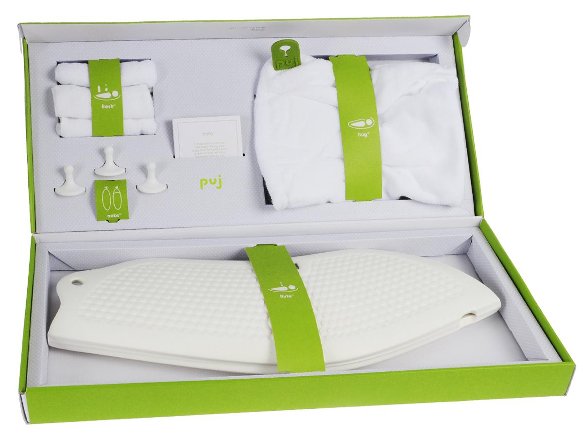 Puj Набор для купания Splash 8 предметов00242Набор для купания ребенка Puj Splash станет отличным подарком для любого будущего родителя. В нем есть все необходимое, чтобы купание малыша стала веселым и приятным. В комплект входят: Компактная ванна для новорожденного Flyte подходит для большинства раковин на пьедестале, а также для раковин с тумбой, что позволяет родителям купать ребенка в удобном положении стоя. Вам больше не придется наклоняться, стоять на коленях или перенапрягать спину. Ванна изготовлена из устойчивого к плесени материала, который не впитывает влагу и высыхает за считанные секунды. Полотенце для новорожденного с капюшоном Hug - самое популярное полотенце, имеет две силиконовых петли, которые застегиваются на вашей шее, освобождая руки, чтобы держать ребенка. Изготовлено из очень мягкого и прочного хлопка. Три цепких крючка, которые можно использовать, чтобы повесить детскую ванну, полотенце и другие банные принадлежности. Нет необходимости в их специальной установке - они крепко держатся...