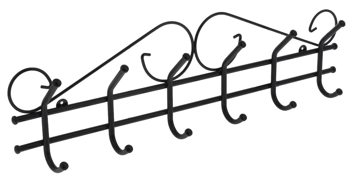Вешалка настенная ЗМИ Ажур 6, цвет: черный, 6 крючковВНА 201_черныйНастенная вешалка ЗМИ Ажур 6 изготовлена из прочной стали с полимерным покрытием. Изделие оснащено 6 крючками для одежды. Вешалка крепится к стене при помощи двух шурупов (не входят в комплект). Вешалка ЗМИ Ажур 6 идеально подходит для маленьких прихожих и ограниченных пространств.
