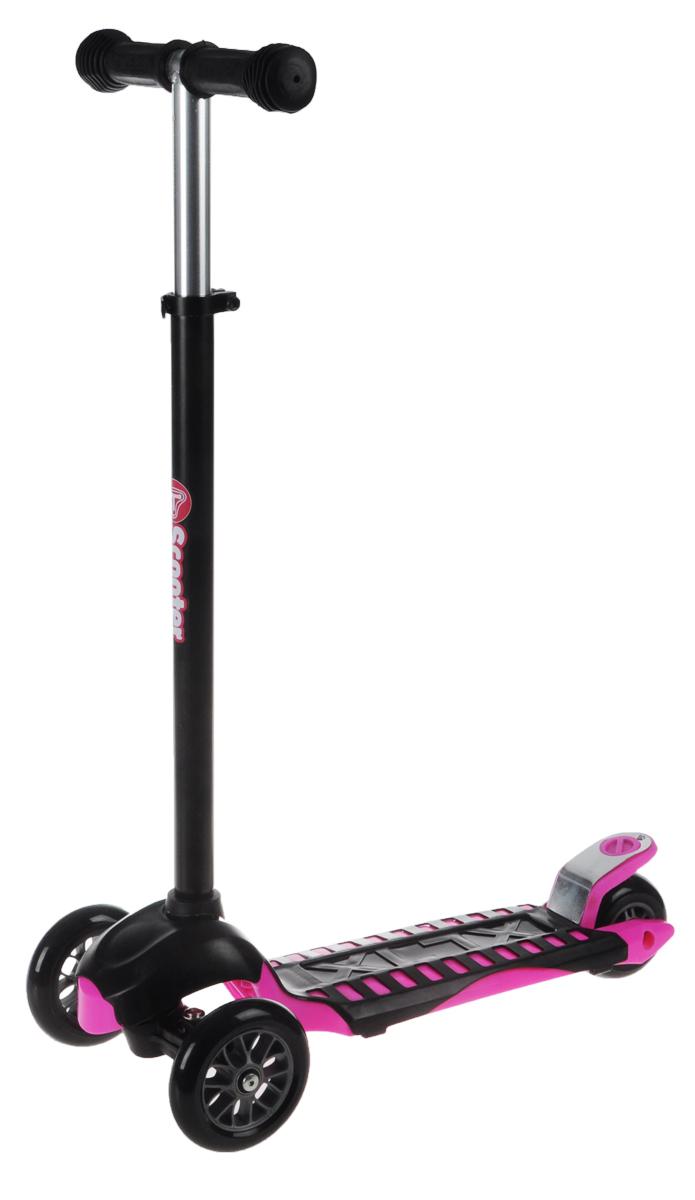 Самокат трехколесный Scooter, цвет: черный, розовый. TLS-302TLS-302Яркий трехколесный самокат Scooter станет отличным подарком юному гонщику! Спереди самокат имеет два колеса для большей устойчивости. Стойка самоката регулируется по высоте. Ручки покрыты мягкими накладками из вспененного полимера, что позволяет избежать мозолей на ладонях. Заднее колесо оснащено тормозом. Полиуретановые колеса обеспечивают хорошее сцепление с дорогой. Катание на самокате - одно из любимых занятий детей. Оно приобретает большую популярность, поскольку не требует специальных навыков. Самокат дает возможность не только замечательно провести досуг, но и обеспечить определенное физическое развитие его владельцу. Порадуйте своего ребенка таким замечательным подарком! Толщина передних колес: 2,5 см. Толщина заднего колеса: 4 см.