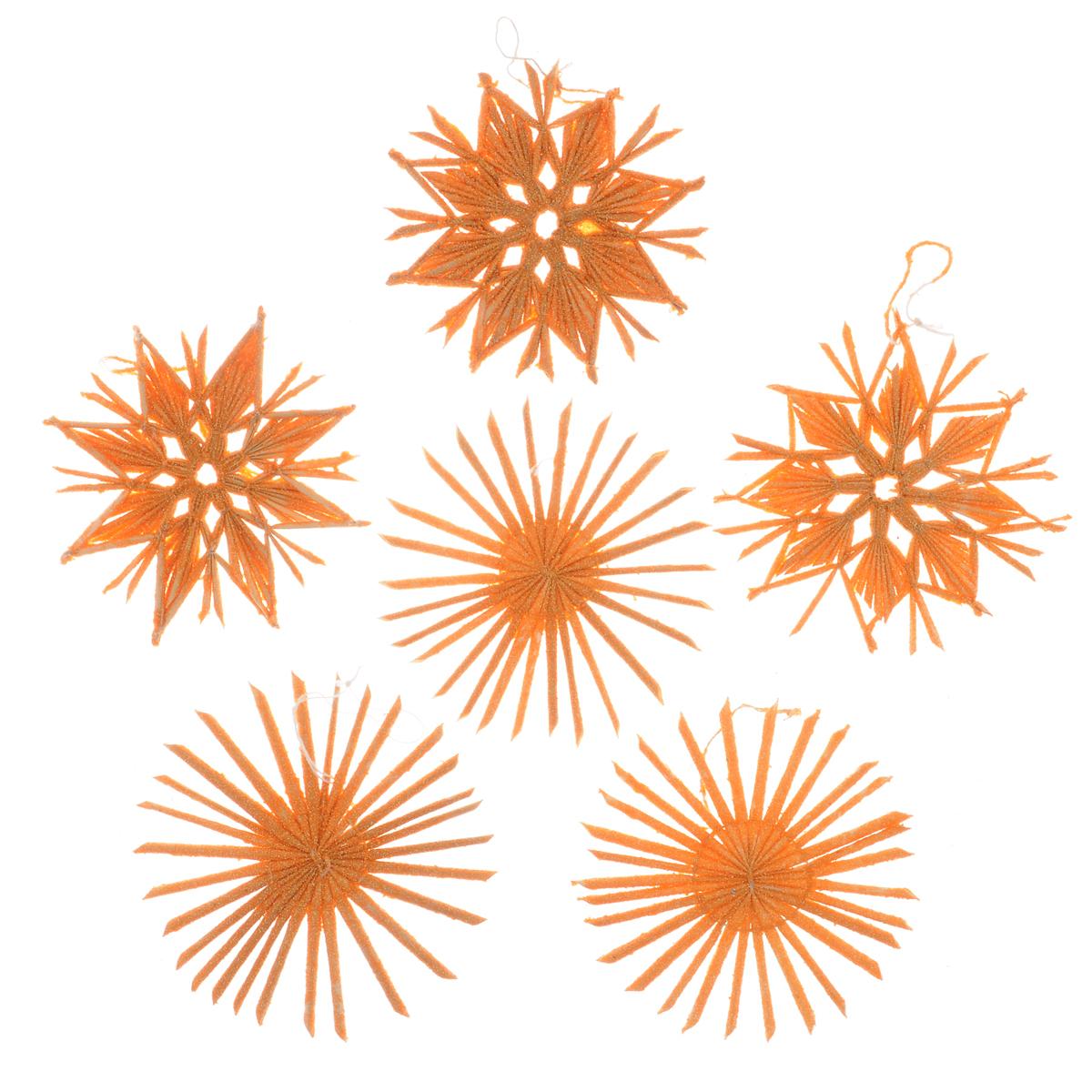 Набор новогодних подвесных украшений Феникс-презент Звезды, цвет: оранжевый, 6 шт38204Стильный набор Феникс-презент Звезды, состоящий из 6 новогодних подвесных украшений, отлично подойдет для декорации вашего дома и новогодней ели. Изделия выполнены из соломы в виде звездочек, оформленных блестками. Украшения имеют специальные петельки для подвешивания. Вы можете преподнести этот милый подарок с наилучшими пожеланиями счастья в предстоящем году. Новогодние украшения всегда несут в себе волшебство и красоту праздника. Создайте в своем доме атмосферу тепла, веселья и радости, украшая его всей семьей.