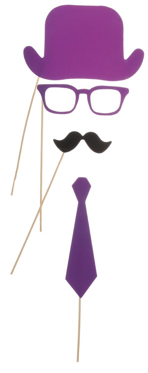 Набор для вечеринок Феникс-Презент, цвет: фиолетовый, черный, 4 предмета. 3921039210Набор для вечеринок Феникс-Презент внесет нотку задора и веселья в ваш праздник. В набор входит шляпа, очки, усы и галстук. Изделия выполнены из плотной бумаги, имеют крепление на бамбуковой палочке. Такой набор позволит причудливо изменить внешний вид человека. Идеальный вариант для игр и театрализованных сценок. Длина палочек: 20 см.