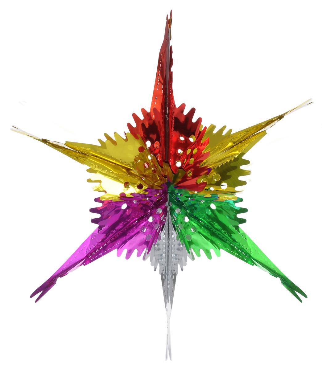 Новогоднее подвесное украшение Феникс-Презент Звезда ажурная, цвет: зеленый, красный, фиолетовый30967Новогоднее украшение Феникс-Презент Звезда ажурная отлично подойдет для декорации вашего дома и новогодней ели. Украшение выполнено из ПЭТ (полиэтилентерефталата) в форме многогранной разноцветной звезды. С помощью специальной петельки звезду можно повесить в любом понравившемся вам месте. Украшение легко складывается и раскладывается благодаря металлическим кольцам. Новогодние украшения несут в себе волшебство и красоту праздника. Они помогут вам украсить дом к предстоящим праздникам и оживить интерьер по вашему вкусу. Создайте в доме атмосферу тепла, веселья и радости, украшая его всей семьей.