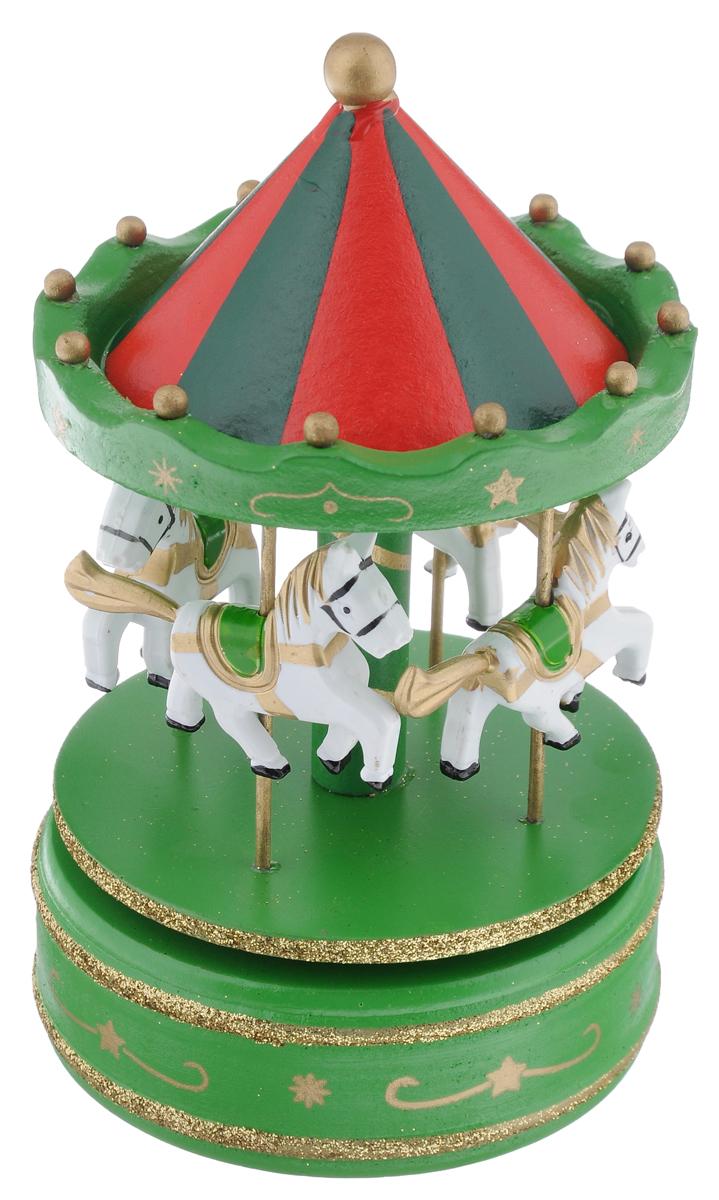 Новогодняя декоративная фигурка Феникс-Презент Карусель. Лошадка, музыкальная, цвет: зеленый, красный, высота 18,5 см35269Новогодняя декоративная фигурка Феникс-Презент Карусель. Лошадка, изготовленная из древесины тополя и металла, выполнена в виде карусели, оформленной четырьмя маленькими фигурами лошадок. Изделие имеет музыкальный ручной механизм, при заводе которого лошадки начинают круговое движение и звучит мелодия к песне Маленькой елочке холодно зимой. Оригинальный дизайн украшения, несомненно, привлечет внимание. Кроме того, это отличный вариант подарка для ваших близких и друзей. Размер: 10,5 см х 10,5 см х 18,5 см.