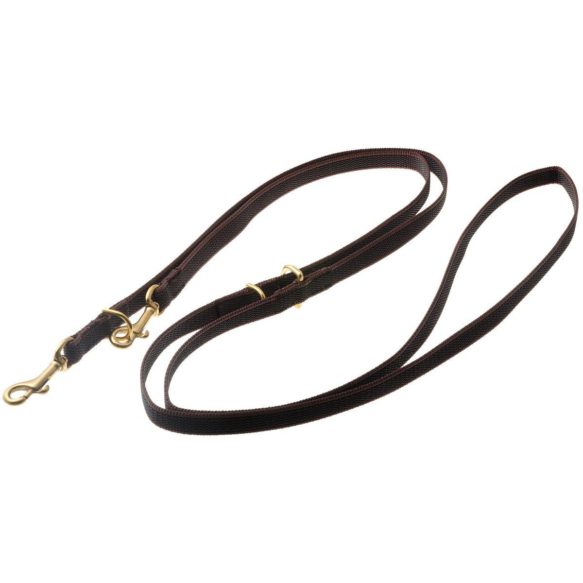 Поводок для собак V.I.Pet, цвет: золотистый, коричневый, ширина 15 мм, длина 2,6 м71-2617Поводок V.I.Pet предназначен для дрессировки собак, а также для повседневного использования, прогулок и вождения двух собак одновременно. Подойдет для самых сильных и активных собак. Не скользит в руке.