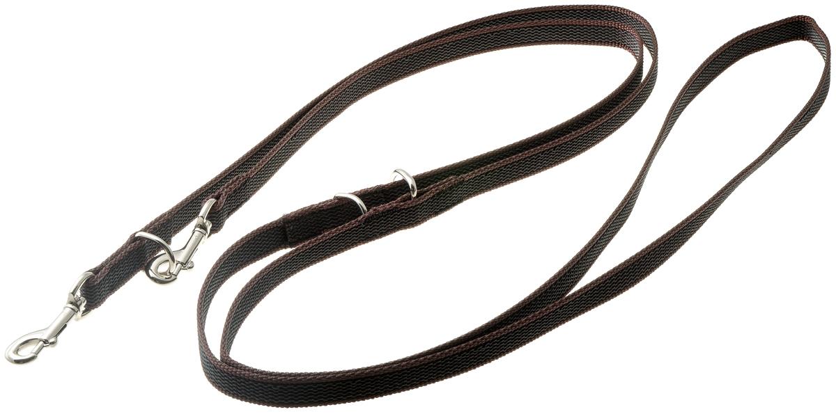 Поводок-перестежка профессиональный легкий (нейлон с латексом) 15мм*2,6м (коричневый) (сталь)