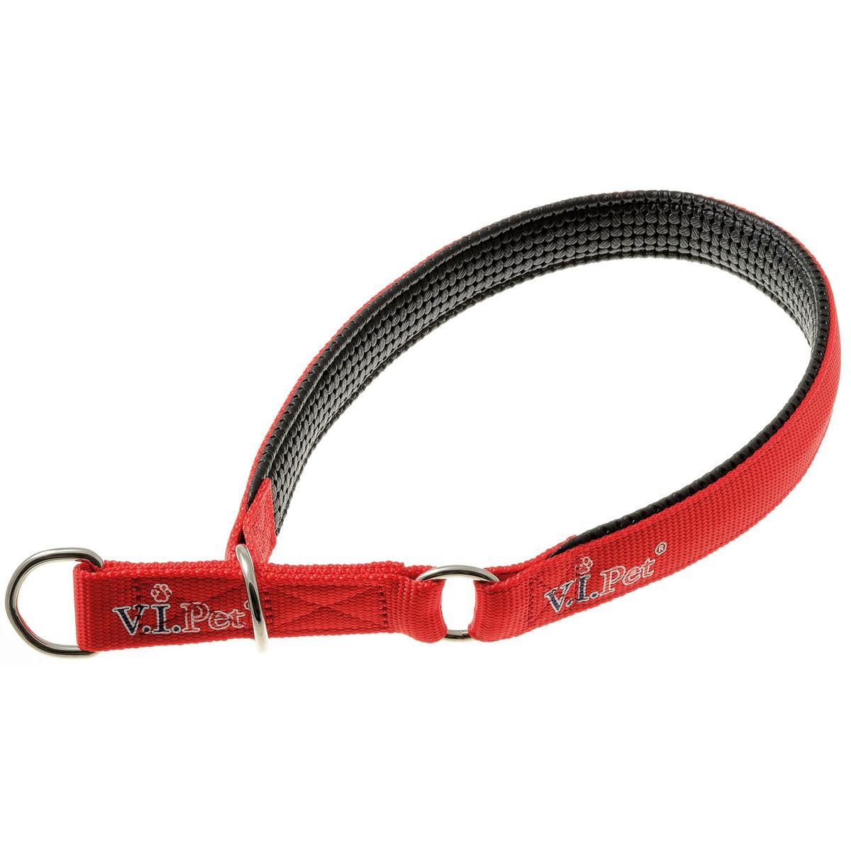 Ошейник-полуудавка с неопреновой подкладкой V.I.Pet (красный) 25мм(58-68см)75-2084