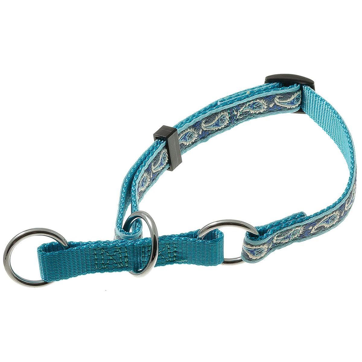 Ошейник для собак V.I.Pet, цвет: голубой, ширина 15 мм, обхват шеи 23-43 см75-2514Удавкой V.I.Pet удобно пользоваться вместо рывковой цепочки, если собаке не требуется чрезмерно жестких воздействий - для коррекции поведения собаки и при спортивной дрессировке. Также ее можно использовать как обычный прогулочный ошейник.