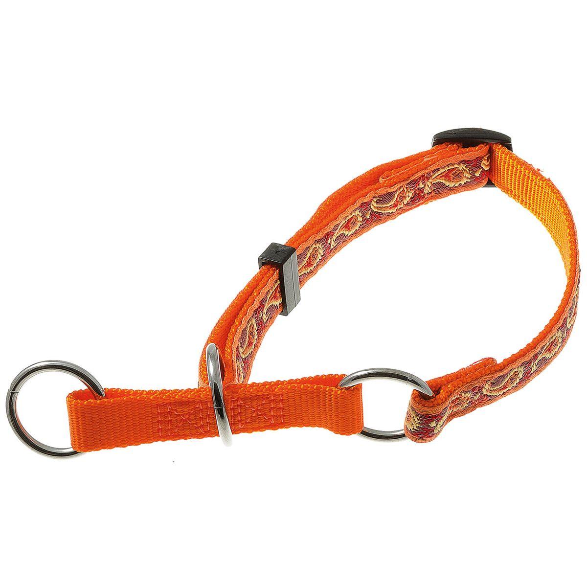 Ошейник-полуудавка регулир. (23-43 см) на 3-х кольцах (восточный стиль) (оранжевый) 15 мм75-2515
