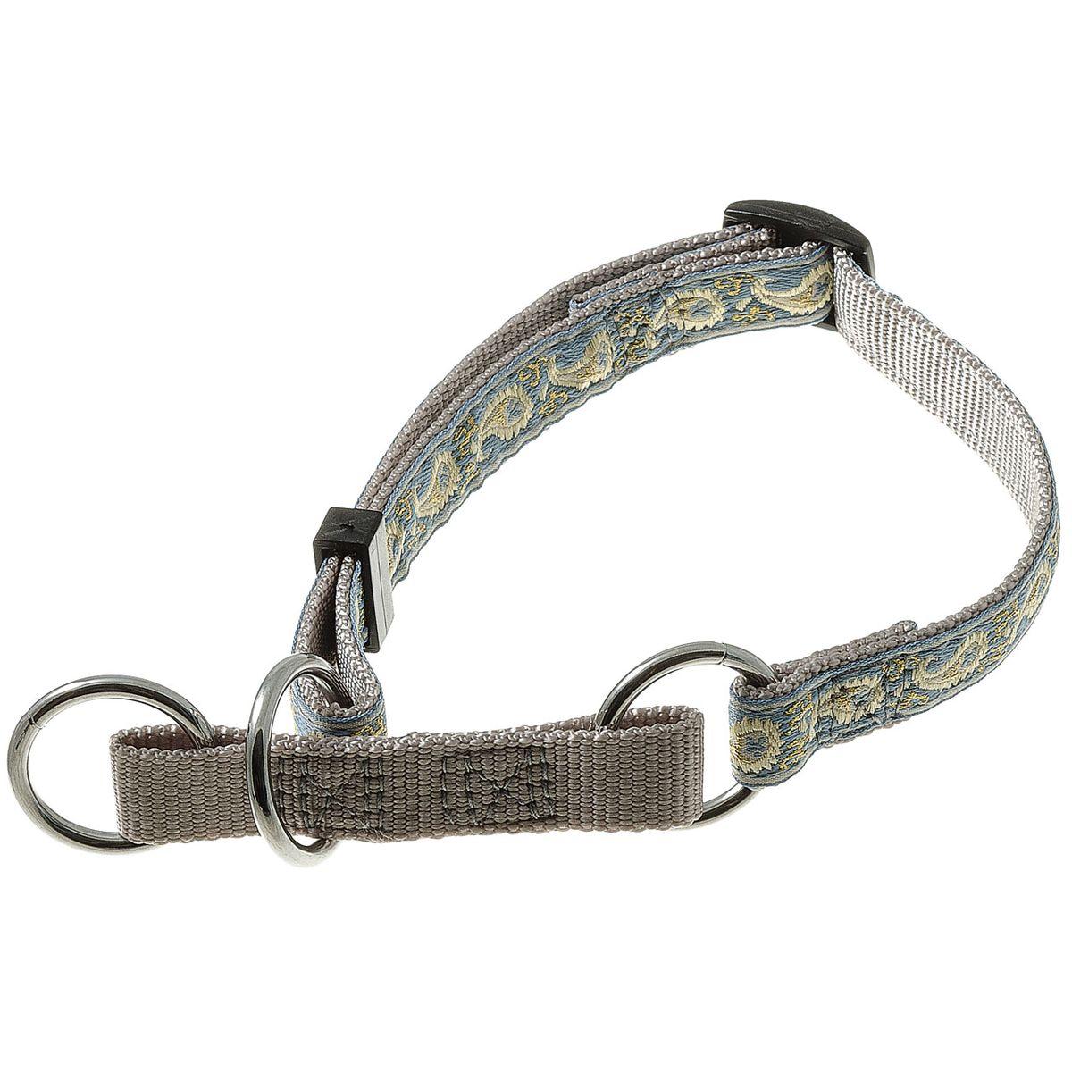 Ошейник-полуудавка регулир. (23-43 см) на 3-х кольцах (восточный стиль) (серый) 15 мм75-2516