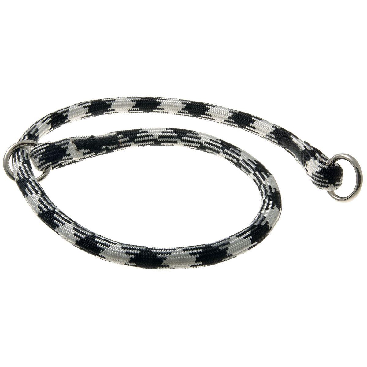 Ошейник-удавка с 2-я кольцами круглый Арлекин 13 мм*80 см (черно-белый)76-2143