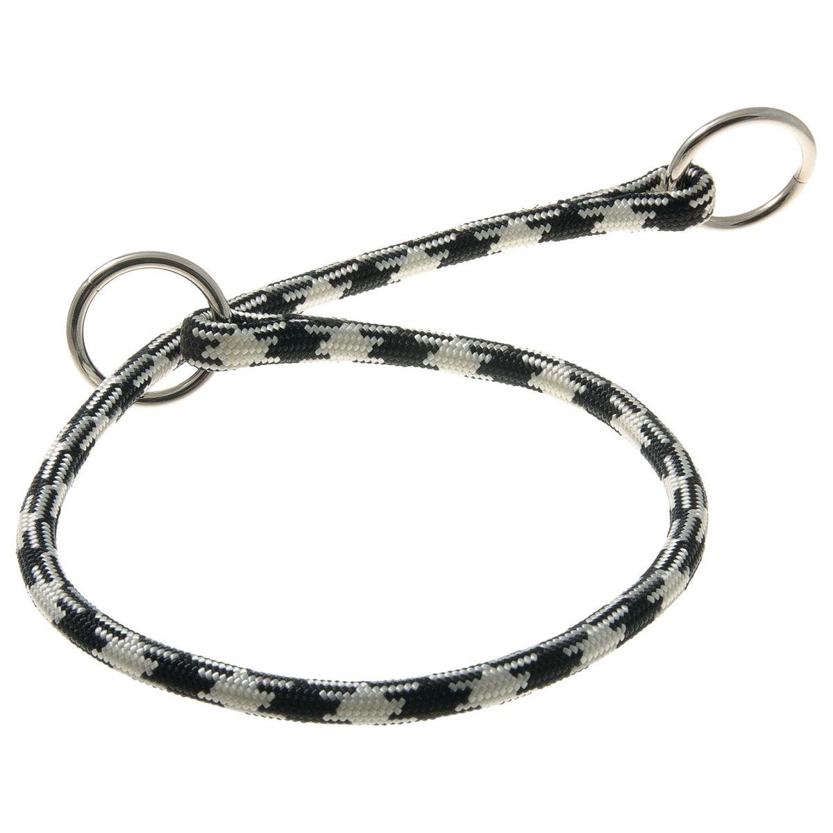 Ошейник-удавка с 2-я кольцами круглый Арлекин 8 мм*50 см (черно-белый)76-2153