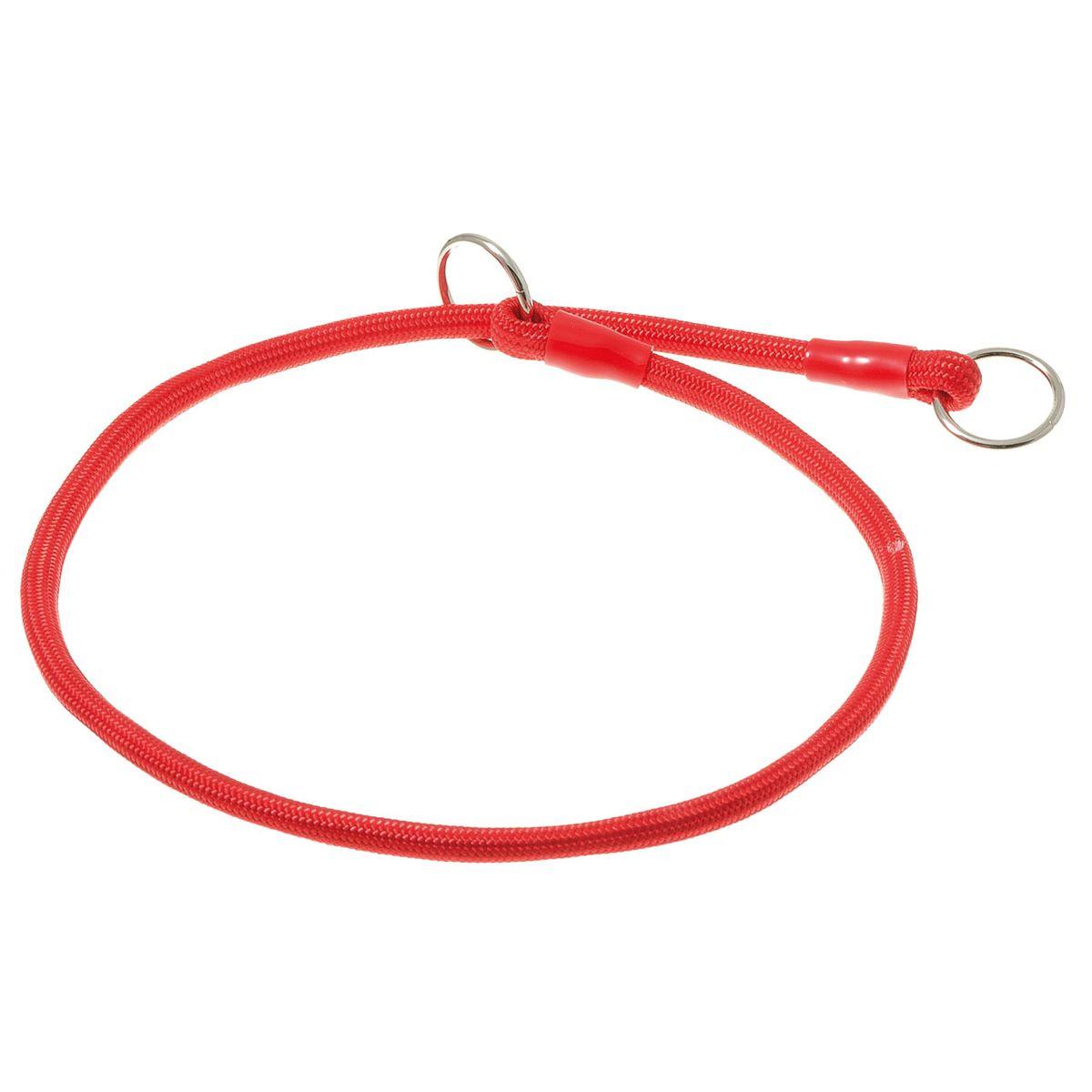 Ошейник-удавка с 2-я кольцами круглый 6мм*50см (красный)76-2224