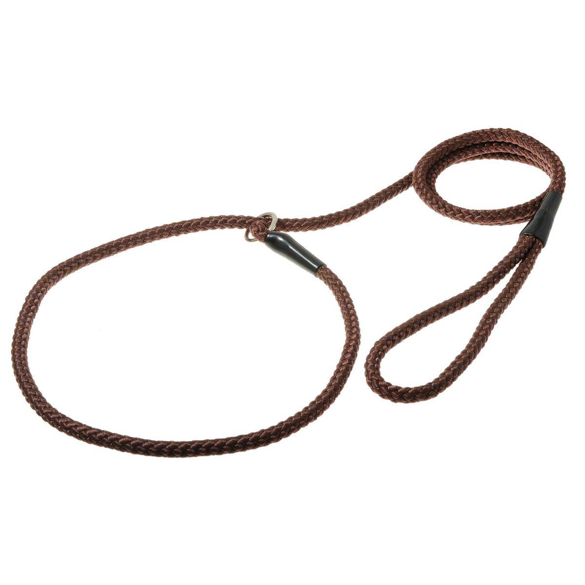 Поводок-удавка с кольцом нейлоновый канат 8мм*170см (коричневый)PDE0868BR
