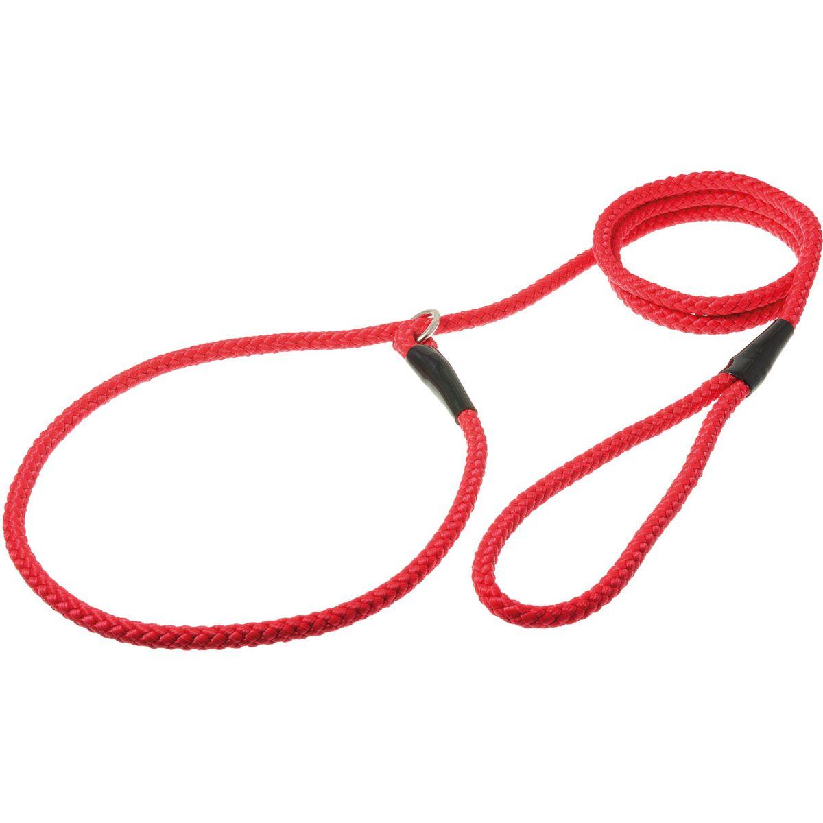 Поводок-удавка с кольцом нейлоновый канат 8мм*170см (красный)PDE0868R