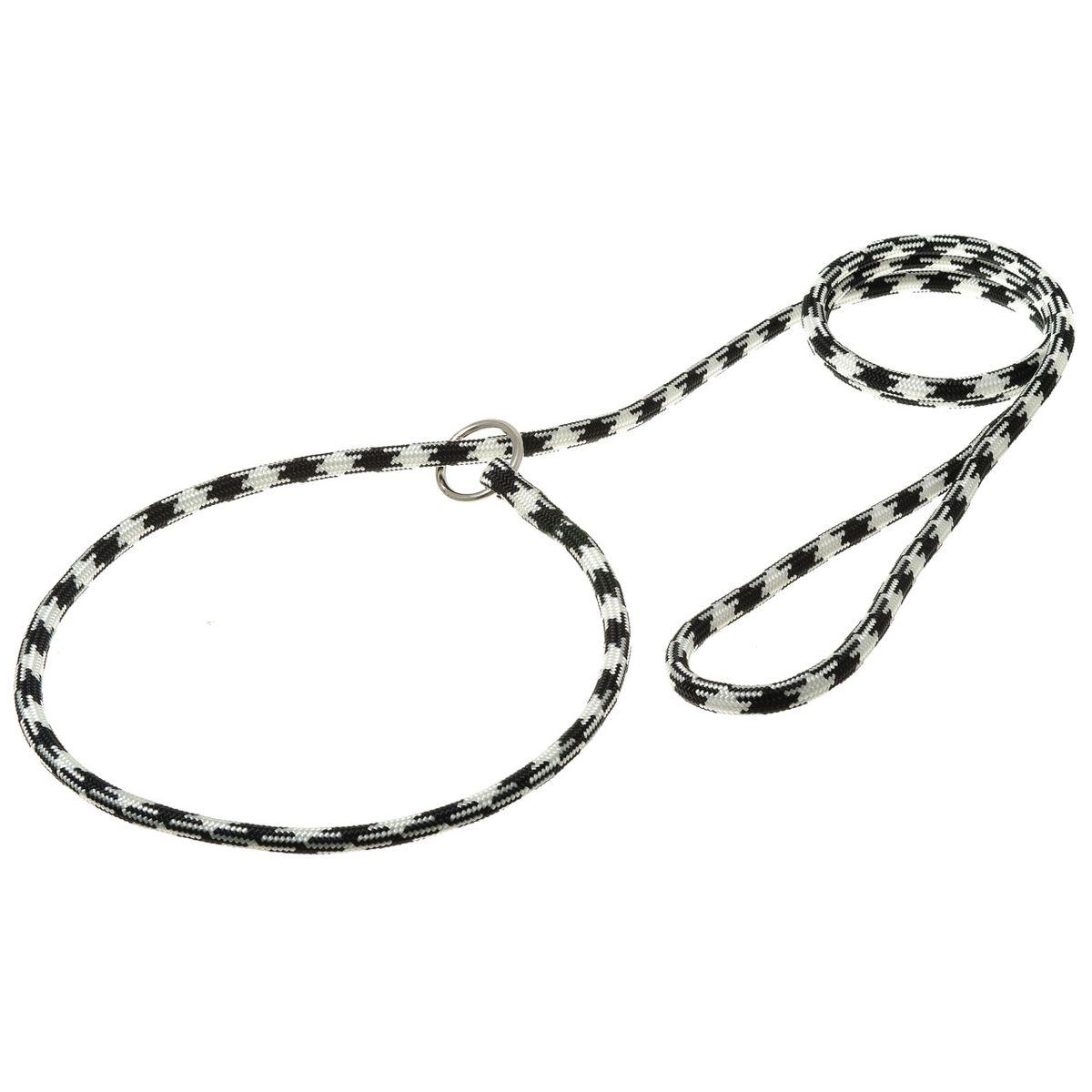 Поводок-удавка с кольцом круглый 8мм*170см Арлекин (бело-черный)PDE0868W-BL
