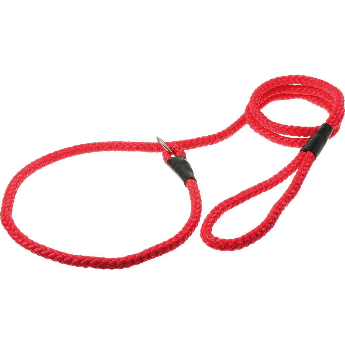 Поводок-удавка с кольцом нейлоновый канат 10мм*170см (красный)PDE1068R