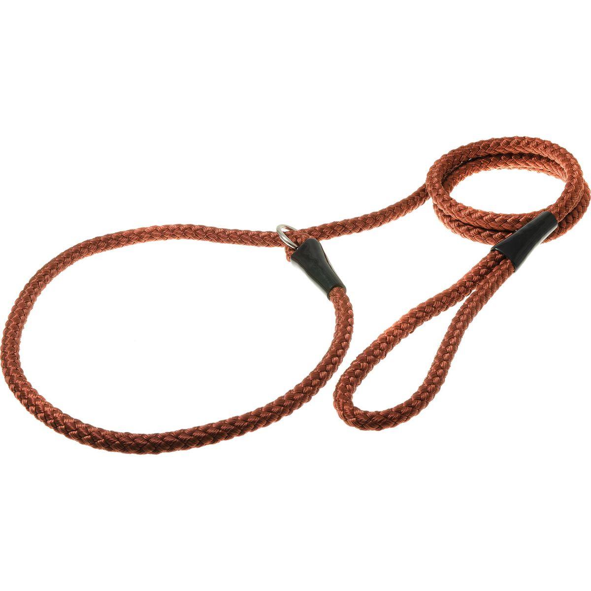 Поводок-удавка с кольцом нейлоновый канат 10мм*170см (красно-коричн.)PDE1068RBR
