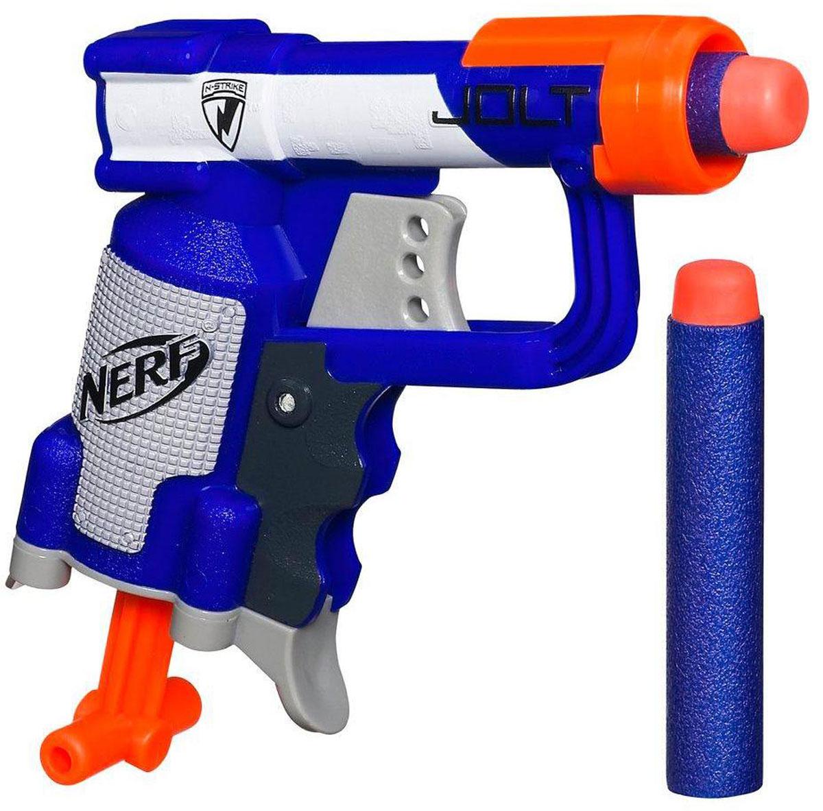 Nerf Бластер ДжолтA0707EU6Бластер Nerf Jolt позволит вашему ребенку почувствовать себя во всеоружии! Бластер выполнен из яркого безопасного пластика синего и оранжевого цветов. Он обладает высокой мощностью и дальностью выстрела. Комплект включает в себя два патрона, выполненных из гибкого вспененного полимера. Игра с таким бластером поможет ребенку в развитии меткости, ловкости, координации движений и сноровки.
