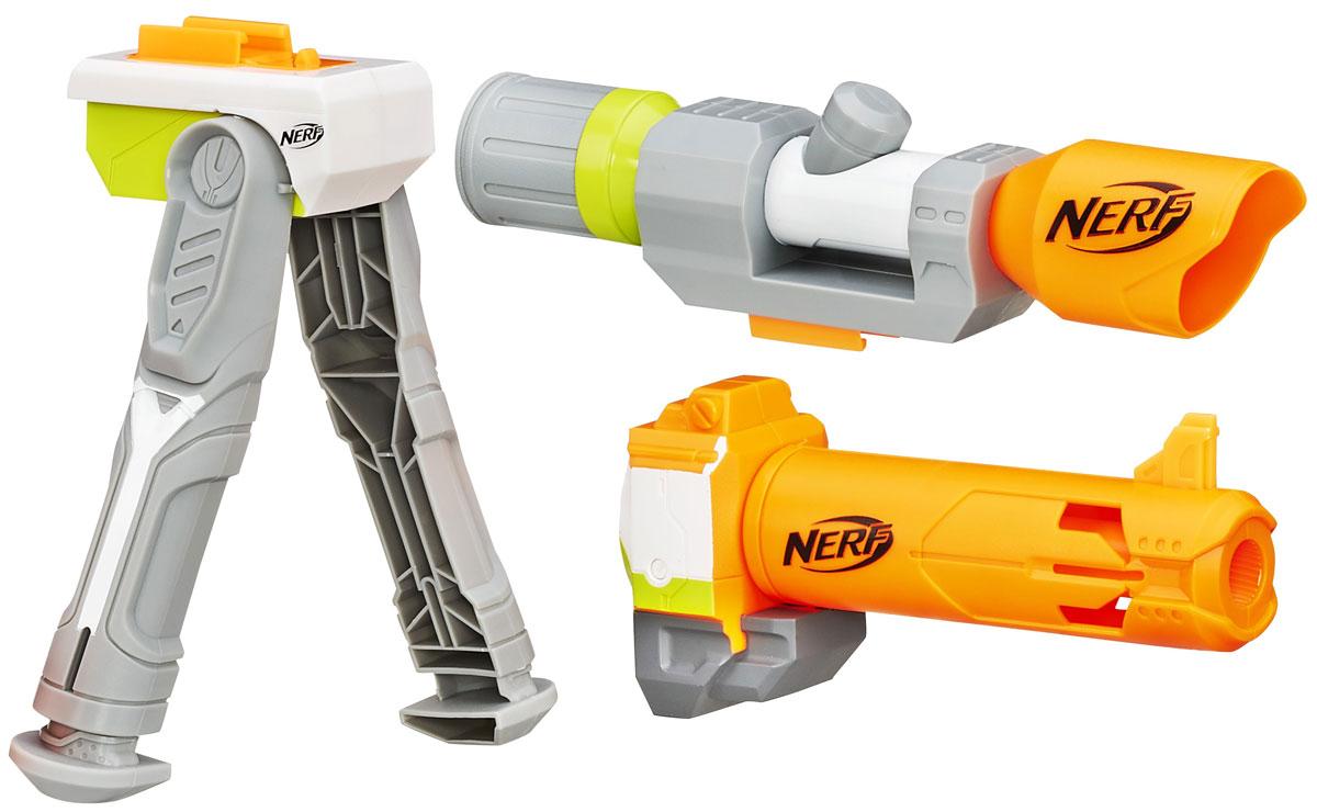 Nerf Modulus Set 4 Меткий стрелокB1537EU4Модулус сет 4 Меткий стрелок по увеличению дальности стрельбы создан для усовершенствования бластеров серии Nerf Modulus. В комплекте есть все необходимые аксессуары, чтобы модернизировать ваш бластер Nerf N-Strike Modulus ECS-10 (приобретается отдельно). Оптический прицел с увеличенной дальностью, насадка на дуло для большей точности и удобная двунога - с таким арсеналом дополнительных спецсредств вы непременно выйдете победителем из любого, даже самого сложного игрового боя! Теперь твой Модулус станет еще круче и ты сможешь перейти на новый уровень ведения боя.