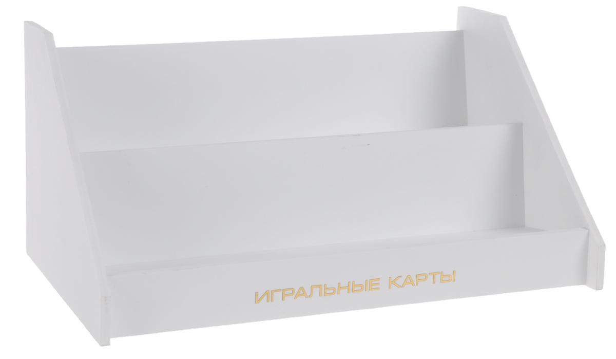 Подставка для игральных карт HappyMagic1000101Подставка для игральных карт HappyMagic выполнена из пластика белого цвета. Имеет 2 уровня, вмещает от 10 до 40 колод (в зависимости от расстановки). Рассчитана на карты покерного размера.