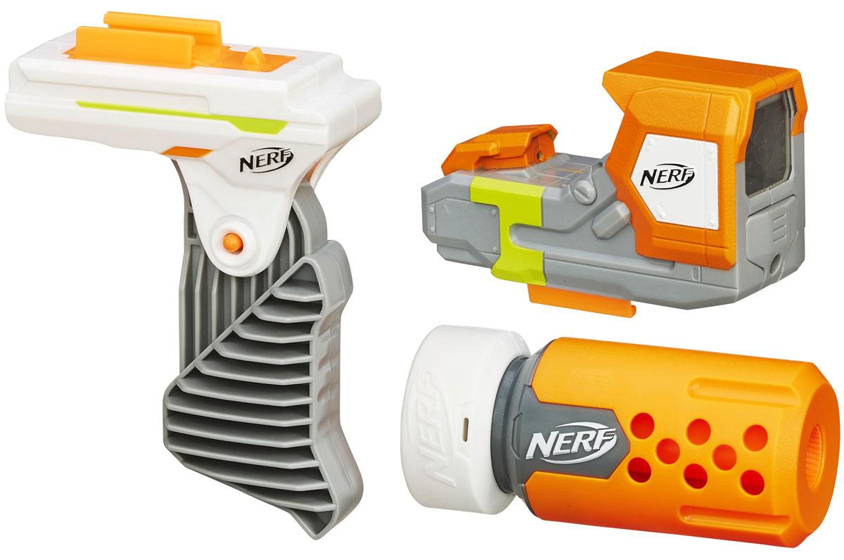 Nerf Modulus Set 2 Специальный агентB1535EU4Набор улучшений Nerf Modulus Set 2 для успешного осуществления операции Тише едешь - дольше ходишь... включает в себя изготовленные из высококачественной пластмассы лазерный прицел, откидную рукоятку и глушитель. С помощью этого сета можно модернизировать бластер Nerf N-Strike Modulus ECS-10 (приобретается отдельно) до уровня полноценной снайперской винтовки, такой, какими пользуются секретные агенты и наемники высшего класса. Лазерный прицел питается от двух мизинчиковых батареек и обеспечивает точность прицеливания. Для того, чтобы надежнее удерживать бластер в руках, предназначена специальная откидная рукоятка, а бесшумности выстрелов и, как следствие, уменьшению вероятности обнаружения, служит надежный глушитель. Для работы прицела нужно докупить 2 батарейки типа ААА (не входят в комплект).