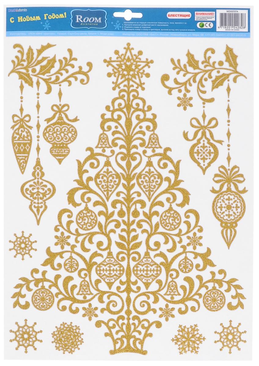 """Новогоднее оконное украшение Room Decoration """"Елка"""", цвет: золотистый"""