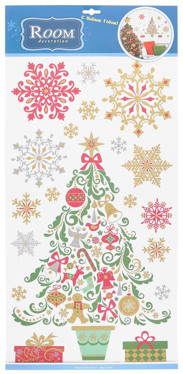 """Новогоднее оконное украшение Room Decoration """"Нарядная елка"""""""