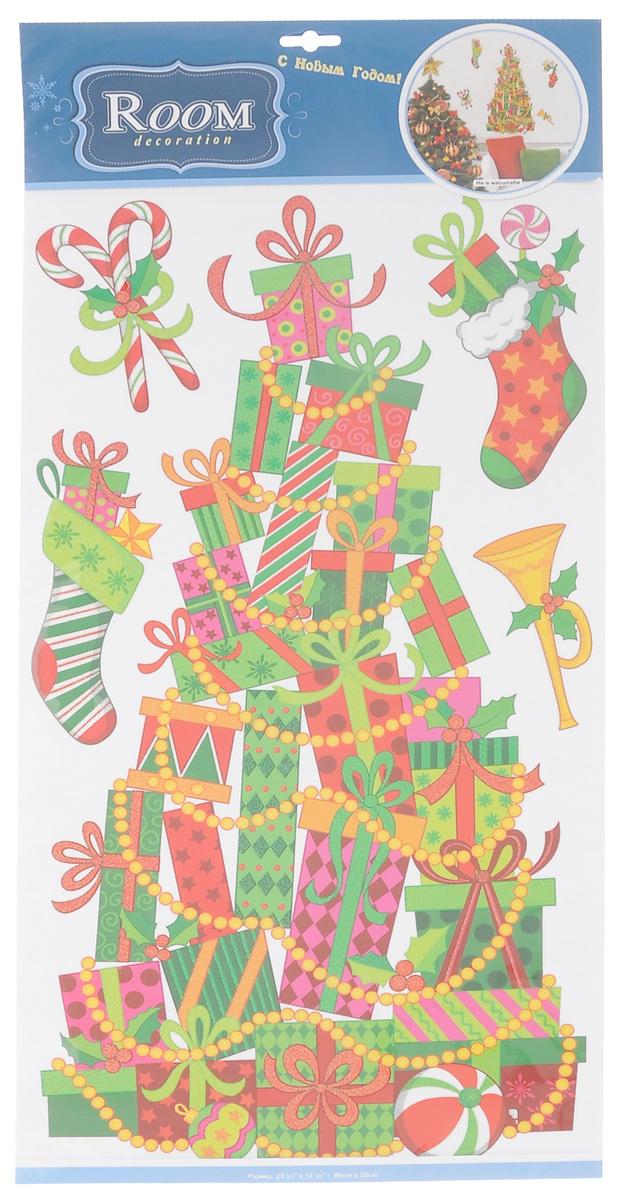 Новогоднее оконное украшение Room Decoration Елка из подарковRCX6401Новогоднее оконное украшение Room Decoration Елка из подарков поможет украсить дом к предстоящим праздникам. Наклейки изготовлены из тонкой самоклеящейся виниловой пленки и декорированы блестками. С помощью этих украшений вы сможете оживить интерьер по своему вкусу: наклеить их на окно, на зеркало. Новогодние украшения всегда несут в себе волшебство и красоту праздника. Создайте в своем доме атмосферу тепла, веселья и радости, украшая его всей семьей. Размер листа: 32 см х 69 см. Количество наклеек на листе: 5 шт. Размер самой большой наклейки: 30 см х 58 см. Размер самой маленькой наклейки: 6,5 см х 12,5 см.