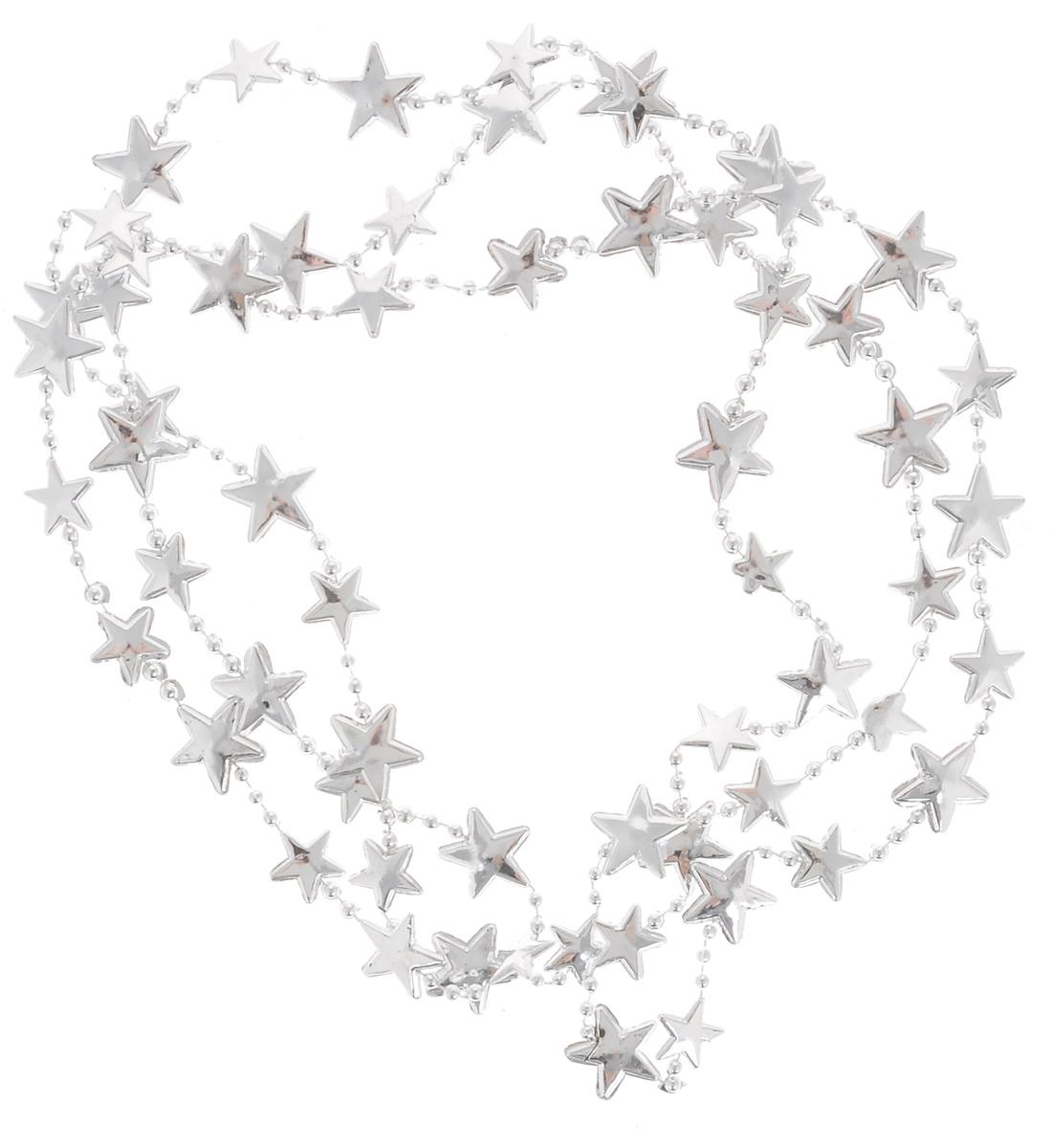 Гирлянда новогодняя EuroHouse Звезды, цвет: серебристый, длина 2 мЕХ 9192Новогодняя гирлянда EuroHouse Звезды отлично подойдет для декорации вашего дома и новогодней ели. Изделие, выполненное из пластика, представляет собой гирлянду на текстильной нити, на которой нанизаны фигурки в виде звезд и бусин. Новогодние украшения несут в себе волшебство и красоту праздника. Они помогут вам украсить дом к предстоящим праздникам и оживить интерьер по вашему вкусу. Создайте в доме атмосферу тепла, веселья и радости, украшая его всей семьей. Средний размер фигурки в виде звезды: 2 см х 2 см х 0,2 см. Диаметр бусины: 0,4 см.