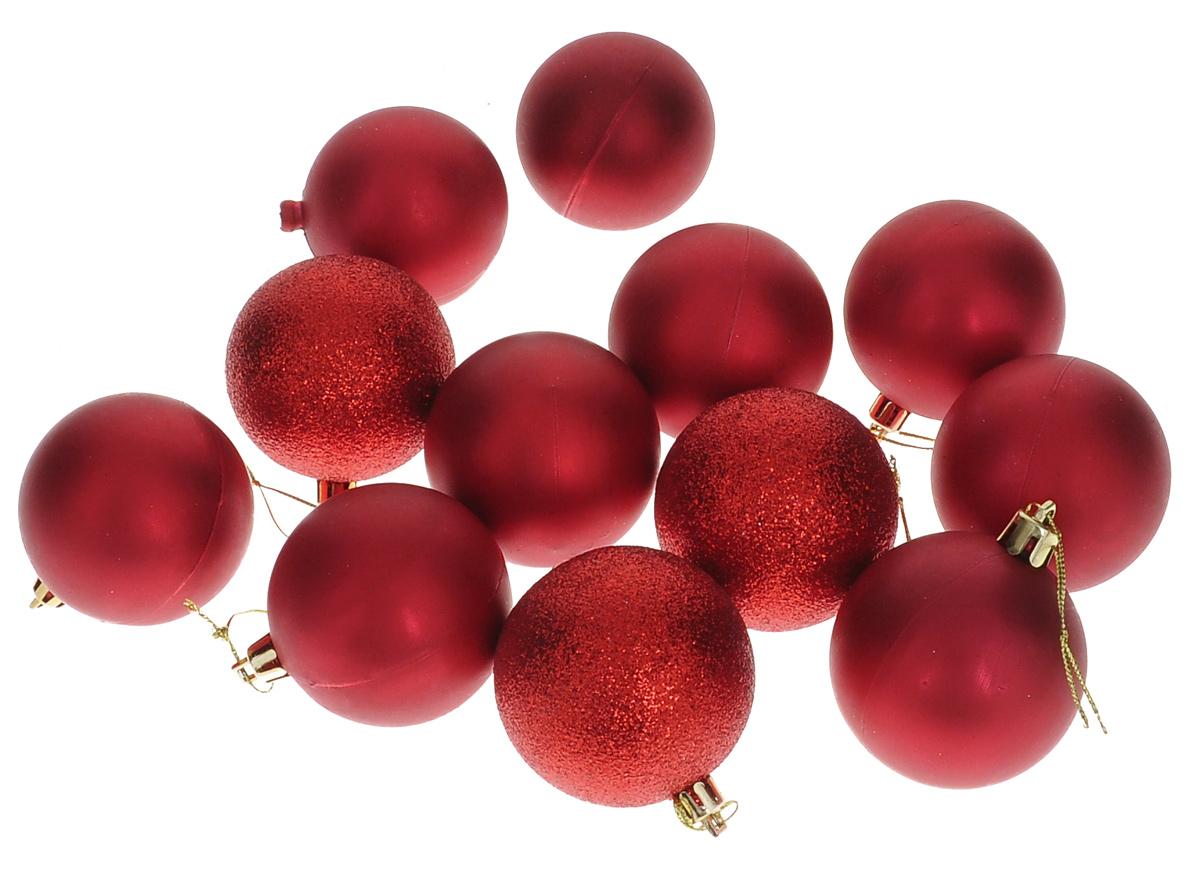 Набор новогодних подвесных украшений Euro House, цвет: красный, диаметр 6 см, 12 штЕХ 9241Набор новогодних подвесных украшений Euro House прекрасно подойдет для праздничного декора новогодней ели. Набор состоит из 12 пластиковых украшений в виде шаров разного дизайна (матовые и покрытые блестками). Для удобного размещения на елке для каждого украшения предусмотрена петелька, выполненная из текстиля. Елочная игрушка - символ Нового года. Она несет в себе волшебство и красоту праздника. Создайте в своем доме атмосферу веселья и радости, украшая новогоднюю елку нарядными игрушками, которые будут из года в год накапливать теплоту воспоминаний. Откройте для себя удивительный мир сказок и грез. Почувствуйте волшебные минуты ожидания праздника, создайте новогоднее настроение вашим дорогим и близким.