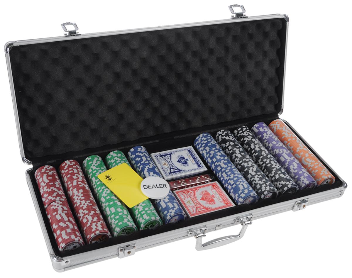 Набор для покера Nightman Royal Flush 500, размер: 70х237х585 мм. УТ-00002781УТ-00002781Набор для покера Royal Flush 500 - то, что нужно для отличного проведения досуга. В набор входят: 500 высококачественных фишек с номиналом, 1 фишка дилера, 5 кубиков, 2 колоды карт покерного размера, подрезная карта. Предметы набора хранятся в металлическом кейсе, который закрывается на ключик. Для удобства переноски на кейсе имеется ручка. Такой набор станет отличным подарком для любителей покера. Покер (англ. poker) - карточная игра, цель которой - выиграть ставки, собрав как можно более высокую покерную комбинацию, используя 5 карт, или вынудив всех соперников прекратить участвовать в игре. Игра идет с полностью или частично закрытыми картами. Покер как карточная игра существует более 500 лет. Зародился он в Европе: в Испании, Франции, Италии. С течением времени правила покера менялись. Первые письменные упоминания о современном варианте покера появляются в 1829 году в мемуарах артиста Джо Кауэла.