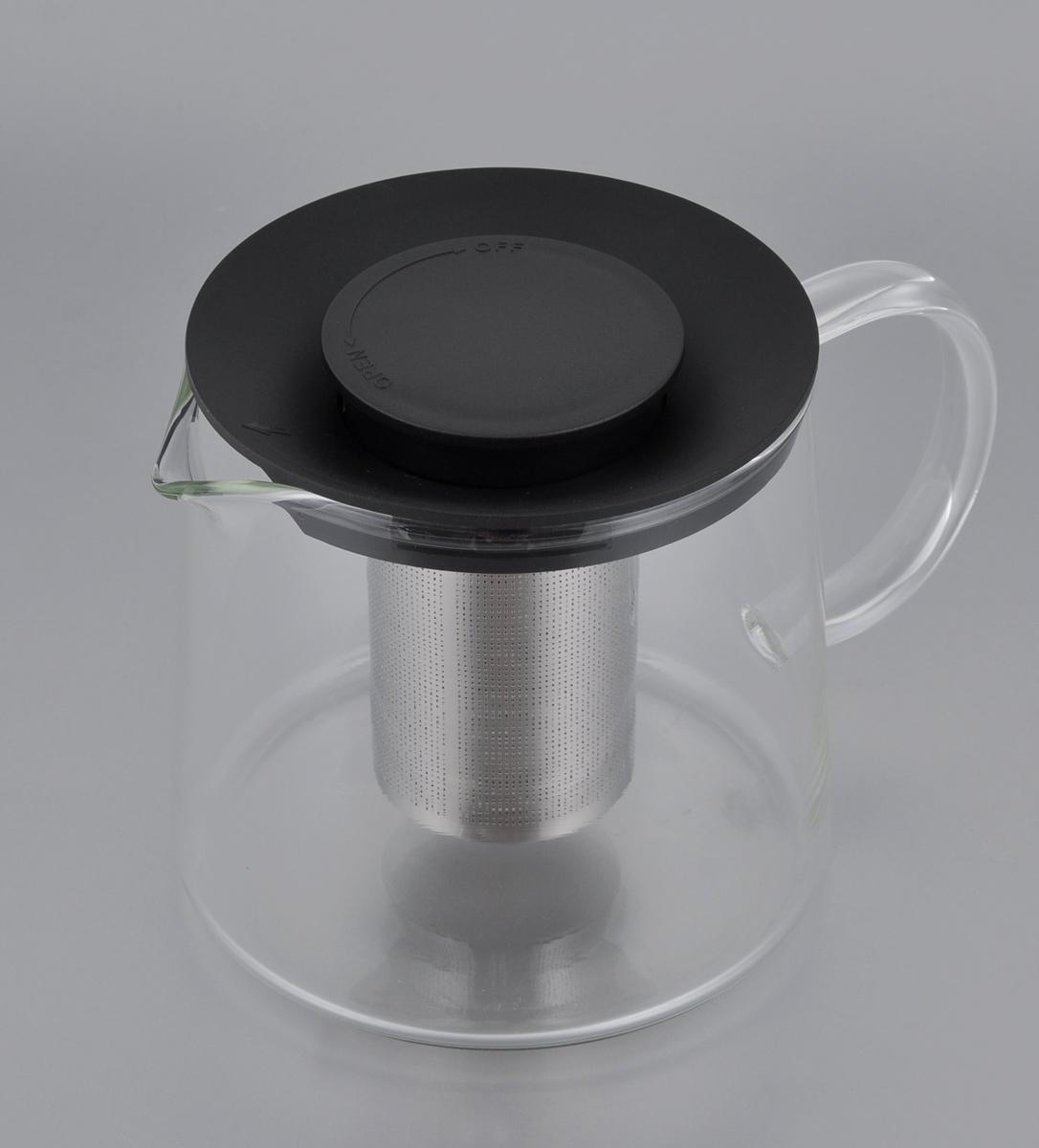 Чайник Идея Камилла, цвет: черный, прозрачный, 1 лKML-01_черныйЧайник Идея Камилла прекрасно подходит для заваривания чая, кофе и травяных настоев. Чайник изготовлен из высококачественного жаропрочного стекла, оснащен металлическим фильтром и пластиковой крышкой. Основные достоинства чайника: - возможность регулировать время заваривания, - возможность комбинировать напиток с различными наполнителями (специи, травы), - возможность подогрева напитка на газовой плите (при 180°С). Диаметр (по верхнему краю): 11 см. Диаметр основания: 12,5 см. Высота фильтра: 8 см. Высота чайника: 11,5 см.