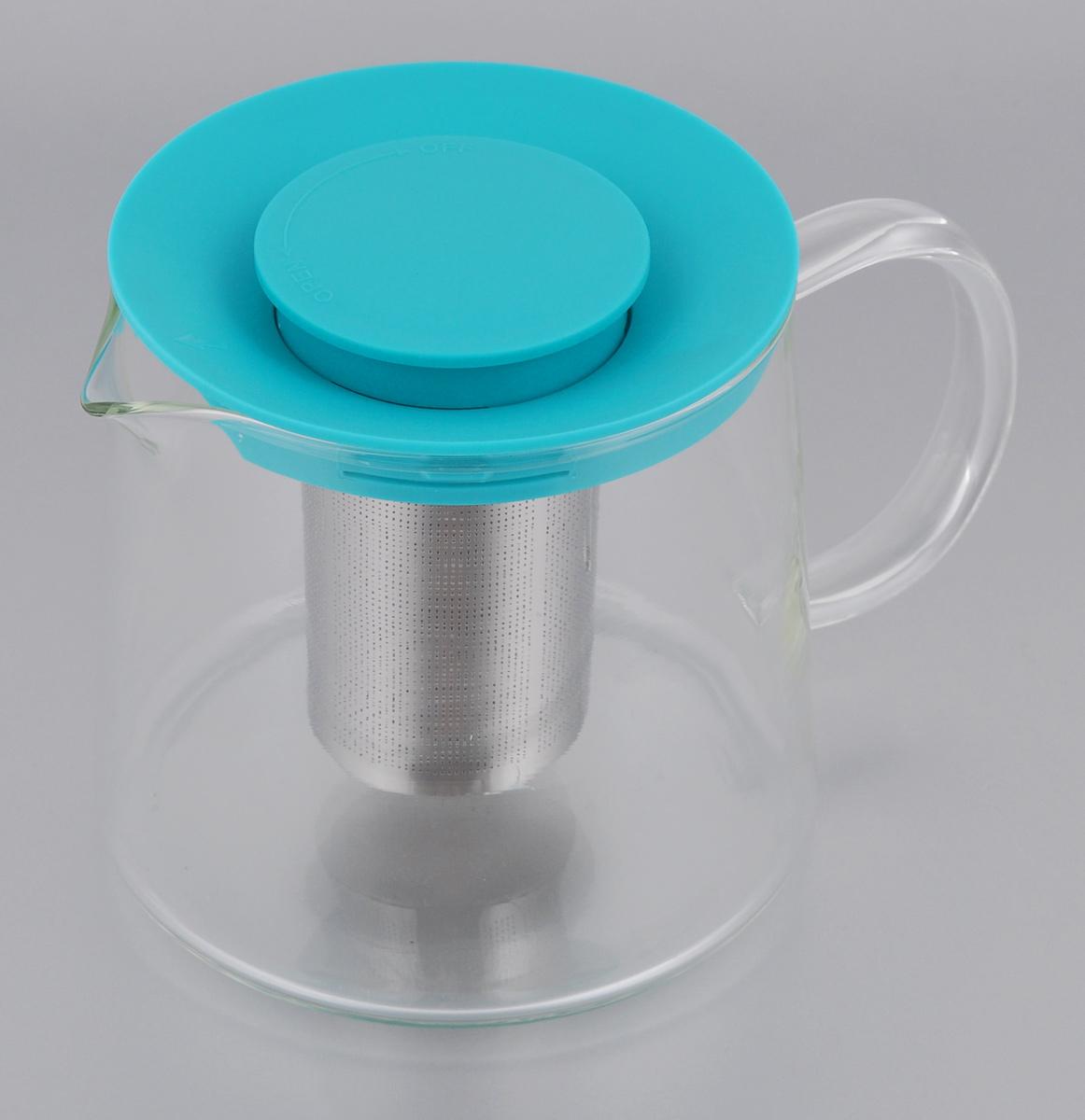 Чайник Идея Камилла, цвет: бирюзовый, прозрачный, 1 лKML-01_бирюзовыйЧайник Идея Камилла прекрасно подходит для заваривания чая, кофе и травяных настоев. Чайник изготовлен из высококачественного жаропрочного стекла, оснащен металлическим фильтром и пластиковой крышкой. Основные достоинства чайника: - возможность регулировать время заваривания, - возможность комбинировать напиток с различными наполнителями (специи, травы), - возможность подогрева напитка на газовой плите (при 180°С). Диаметр (по верхнему краю): 11 см. Диаметр основания: 12,5 см. Высота фильтра: 8 см. Высота чайника: 11,5 см.