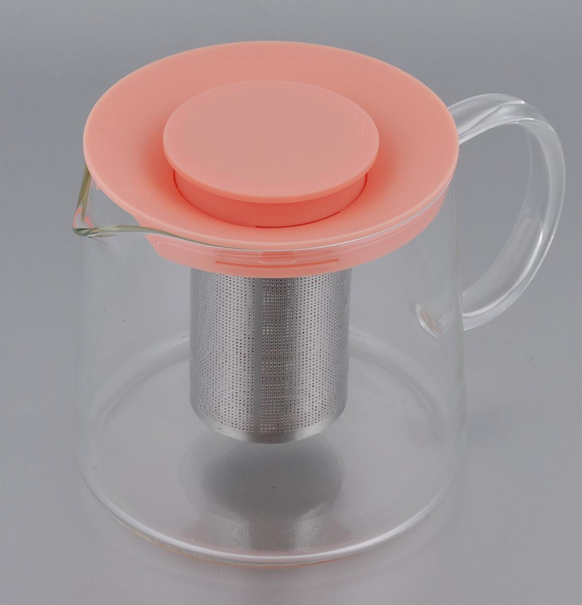 Чайник Идея Камилла, цвет: персиковый, прозрачный, 1 лKML-01_персиковыйЧайник Идея Камилла прекрасно подходит для заваривания чая, кофе и травяных настоев. Чайник изготовлен из высококачественного жаропрочного стекла, оснащен металлическим фильтром и пластиковой крышкой. Основные достоинства чайника: - возможность регулировать время заваривания, - возможность комбинировать напиток с различными наполнителями (специи, травы), - возможность подогрева напитка на газовой плите (при 180°С). Диаметр (по верхнему краю): 11 см. Диаметр основания: 12,5 см. Высота фильтра: 8 см. Высота чайника: 11,5 см.