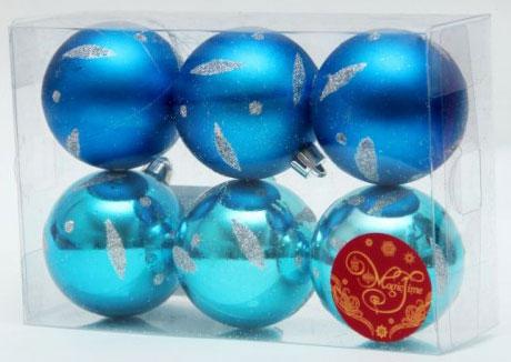 Набор новогодних подвесных украшений Шар, цвет: синий, голубой, диаметр 5 см, 6 шт. 3553535535Набор новогодних подвесных украшений выполнен из высококачественного пластика в форме шаров и декорирован новогодним орнаментом и блестками. С помощью специальной петельки украшение можно повесить в любом понравившемся вам месте. Но, конечно, удачнее всего такой набор будет смотреться на праздничной елке. Елочная игрушка - символ Нового года. Она несет в себе волшебство и красоту праздника. Создайте в своем доме атмосферу веселья и радости, украшая новогоднюю елку нарядными игрушками, которые будут из года в год накапливать теплоту воспоминаний.