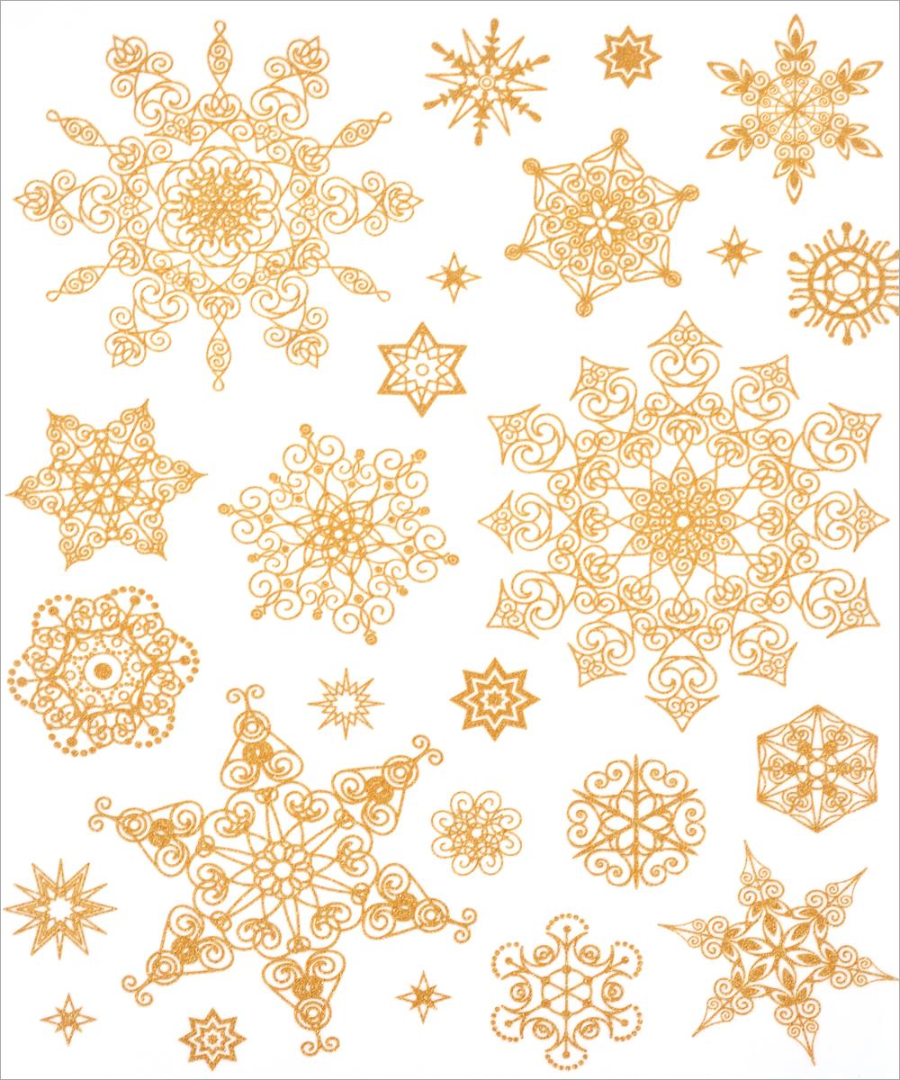 Новогоднее оконное украшение Феникс-Презент Снежинки. 3124631246Новогоднее оконное украшение Феникс-Презент Снежинки поможет украсить дом к предстоящим праздникам. На одном листе расположены наклейки в виде снежинок, декорированные блестками. Наклейки изготовлены из ПВХ. С помощью этих украшений вы сможете оживить интерьер по своему вкусу, наклеить их на окно, на зеркало. Новогодние украшения всегда несут в себе волшебство и красоту праздника. Создайте в своем доме атмосферу тепла, веселья и радости, украшая его всей семьей. Размер листа: 30 см х 38 см. Диаметр самой большой наклейки: 15 см. Диаметр самой маленькой наклейки: 2 см.