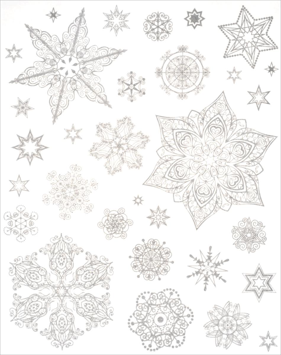 Новогоднее оконное украшение Феникс-Презент Снежинки. 3148731487Новогоднее оконное украшение Феникс-Презент Снежинки поможет украсить дом к предстоящим праздникам. На одном листе расположены наклейки в виде снежинок, декорированные блестками. Наклейки изготовлены из ПВХ. С помощью этих украшений вы сможете оживить интерьер по своему вкусу, наклеить их на окно, на зеркало. Новогодние украшения всегда несут в себе волшебство и красоту праздника. Создайте в своем доме атмосферу тепла, веселья и радости, украшая его всей семьей. Размер листа: 30 см х 38 см. Диаметр самой большой наклейки: 16 см. Диаметр самой маленькой наклейки: 2 см.