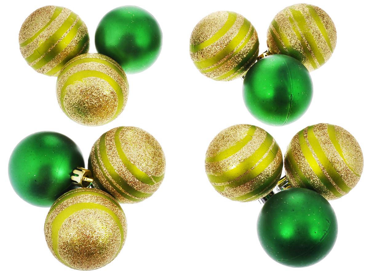 Набор новогодних подвесных украшений EuroHouse, цвет: зеленый, салатовый с блестками, диаметр 5 см, 12 шт. ЕХ9035ЕХ9035_зелёный/салатовый с блёсткамиНабор новогодних подвесных украшений EuroHouse прекрасно подойдет для праздничного декора новогодней ели. Набор состоит из 12 елочных шаров, выполненных из пластика. Изделия имеют разный дизайн: 4 шара - матовые, 8 шаров покрыты блестками. Для удобного размещения на елке для каждого украшения предусмотрена текстильная петелька. Елочная игрушка - символ Нового года. Она несет в себе волшебство и красоту праздника. Создайте в своем доме атмосферу веселья и радости, украшая новогоднюю елку нарядными игрушками, которые будут из года в год накапливать теплоту воспоминаний. Откройте для себя удивительный мир сказок и грез. Почувствуйте волшебные минуты ожидания праздника, создайте новогоднее настроение вашим дорогим и близким.