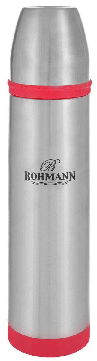 Термос Bohmann, цвет: металлик, красный, 1 л. 4492BHNEW4492BHNEW_красныйТермос Bohmann выполнен из высококачественной нержавеющей стали с матовой полировкой, пластика и силикона. Двойные стенки сохраняют температуру до 24 часов. Внутренняя колба выполнена из высококачественной нержавеющей стали марки 18/10. Термос имеет вакуумную прослойку между внутренней колбой и внешней стенкой. Специальная термоизоляционная прокладка удерживает тепло. Термос снабжен плотно прилегающей закручивающейся пластиковой пробкой с нажимным клапаном и укомплектован теплоизолированной чашкой из нержавеющей стали. Для того чтобы налить содержимое термоса, нет необходимости откручивать пробку. Достаточно надавить на клапан, расположенный в центре. Легкий и удобный термос Bohmann станет незаменимым спутником в ваших поездках. Диаметр чашки (по верхнему краю): 7,5 см. Высота стенки чашки: 7,5 см. Диаметр горлышка термоса: 5 см. Диаметр основания термоса: 8 см. Высота термоса (с учетом крышки): 32,5 см. Объем: 1 л.