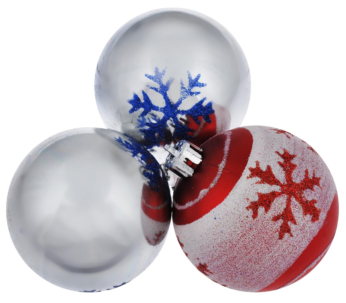Набор новогодних подвесных украшений EuroHouse, цвет: серебристый, красный, 6 см, 3 шт. ЕХ9268ЕХ9268_2 серебристый/1 красный, белыйНабор новогодних подвесных украшений EuroHouse прекрасно подойдет для праздничного декора новогодней ели. Набор состоит из 2 пластиковых украшений в виде глянцевых шаров и 1 матового с белой блестящей полоской. Для удобного размещения на елке для каждого изделия предусмотрена текстильная петелька. Елочная игрушка - символ Нового года. Она несет в себе волшебство и красоту праздника. Создайте в своем доме атмосферу веселья и радости, украшая новогоднюю елку нарядными игрушками, которые будут из года в год накапливать теплоту воспоминаний.